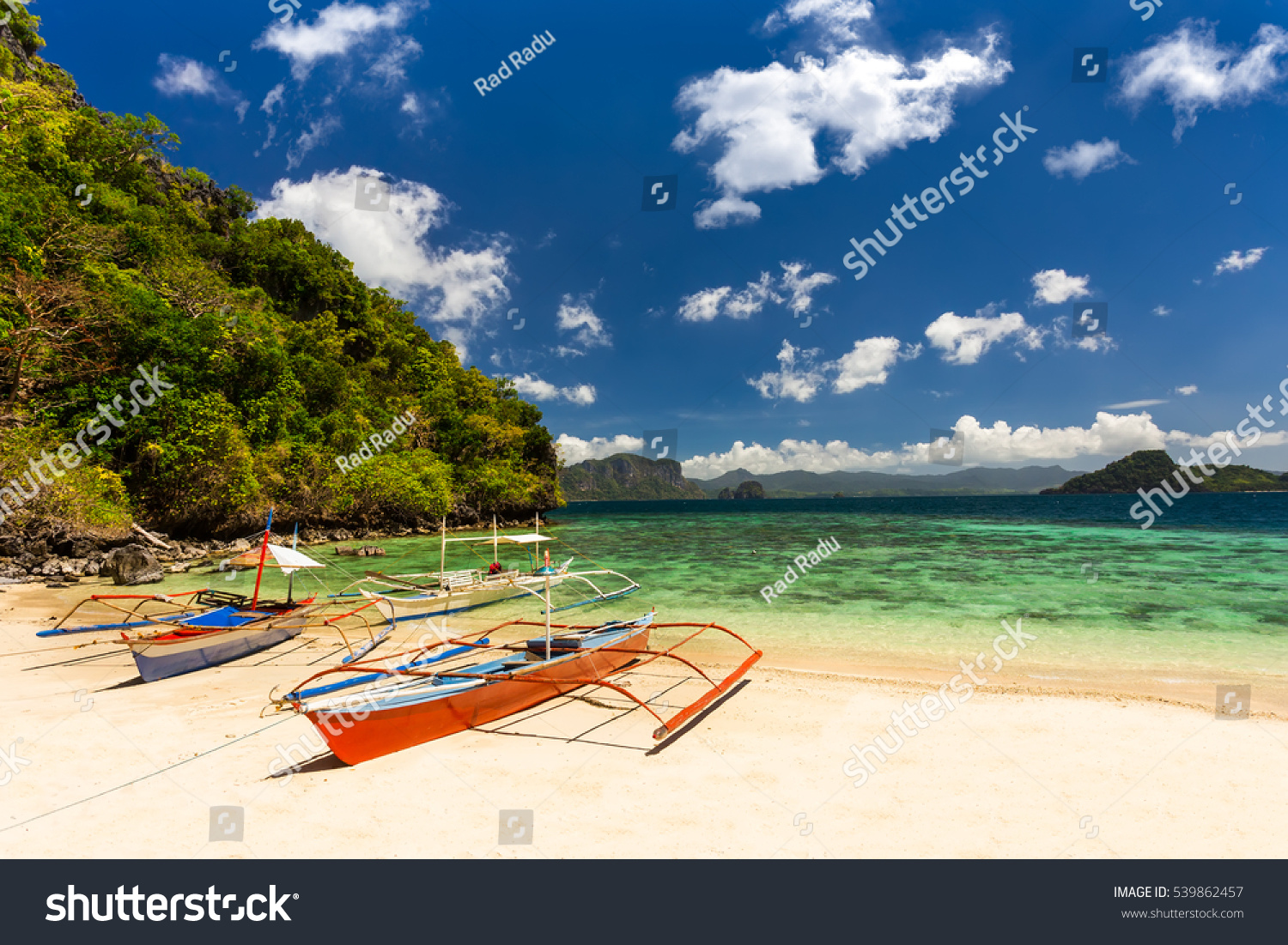 stock-photo-traditional-banca-boats-at-the-beach-near-cudugnon-cave-el-nido-palawan-island-philippines-539862457 - El Nido Beach in Palawan - Philippine Photo Gallery