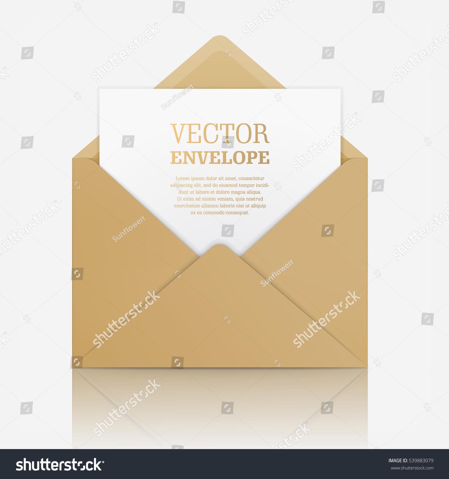 Blank Template Open Beige Envelope Empty Stock Vector 539883079 ...