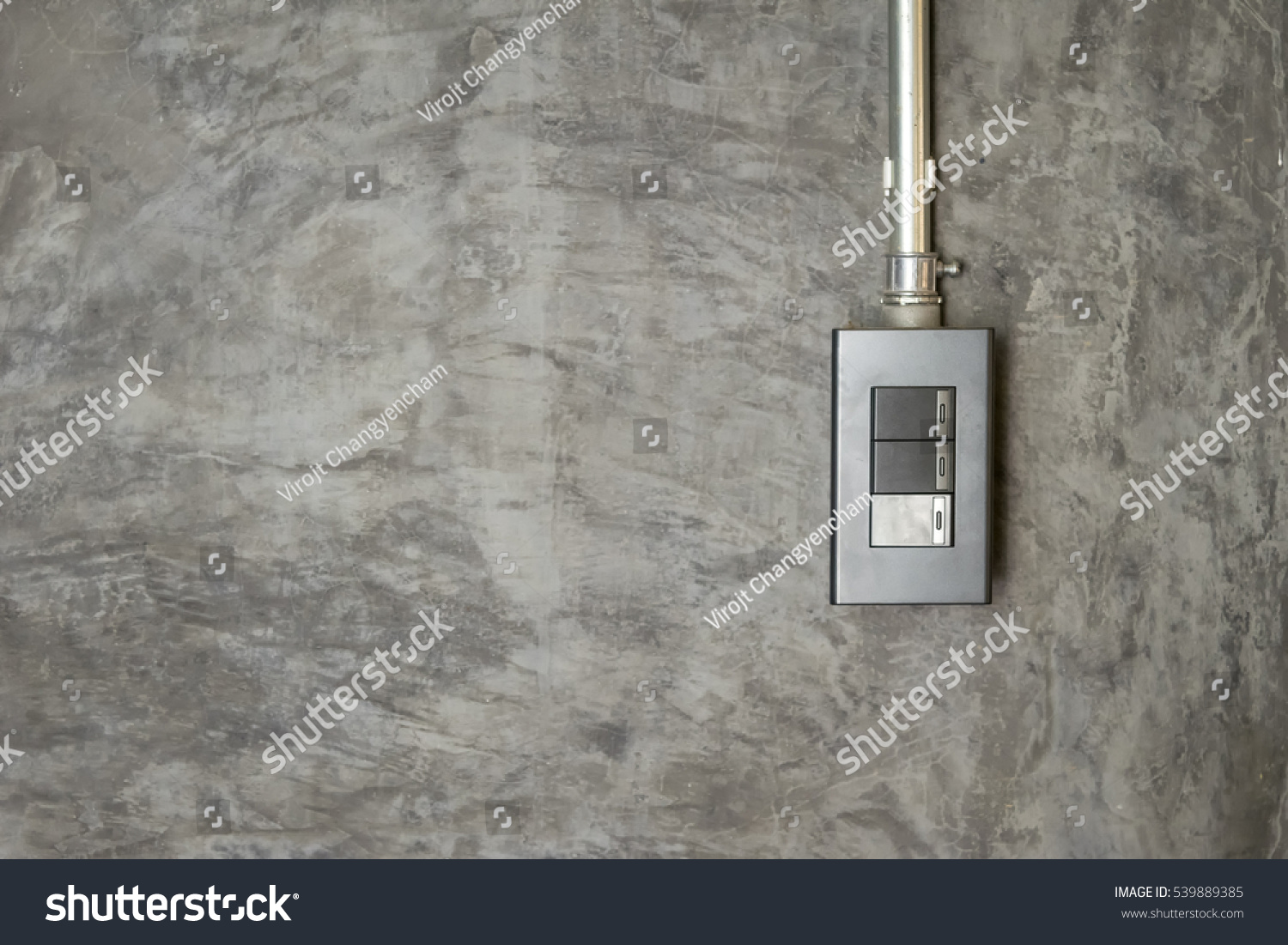 Switch Light On Bare Concrete Walls Stock Photo (Edit Now) 539889385 ...