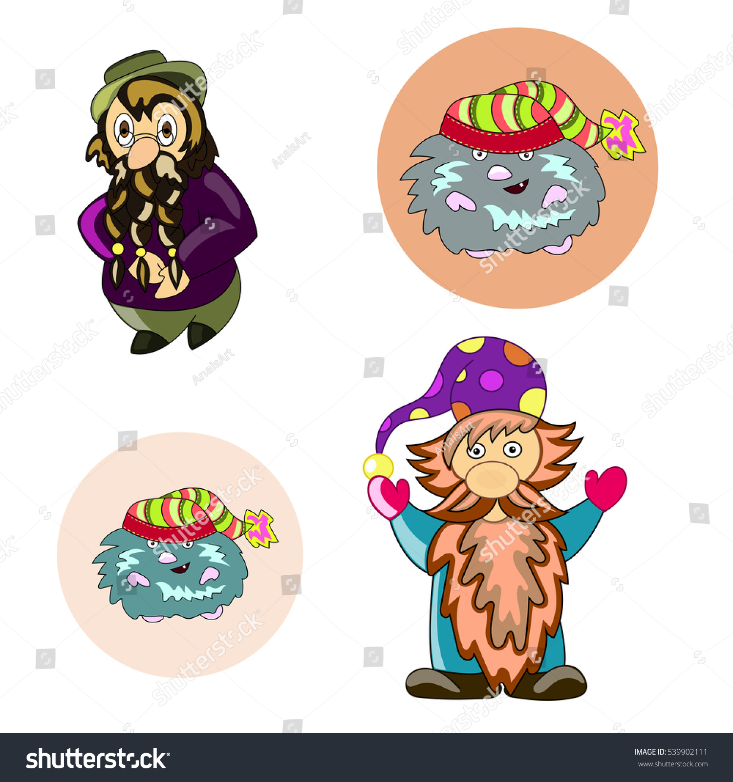 Four Gnome On White Background Beautiful Stock Illustration ...