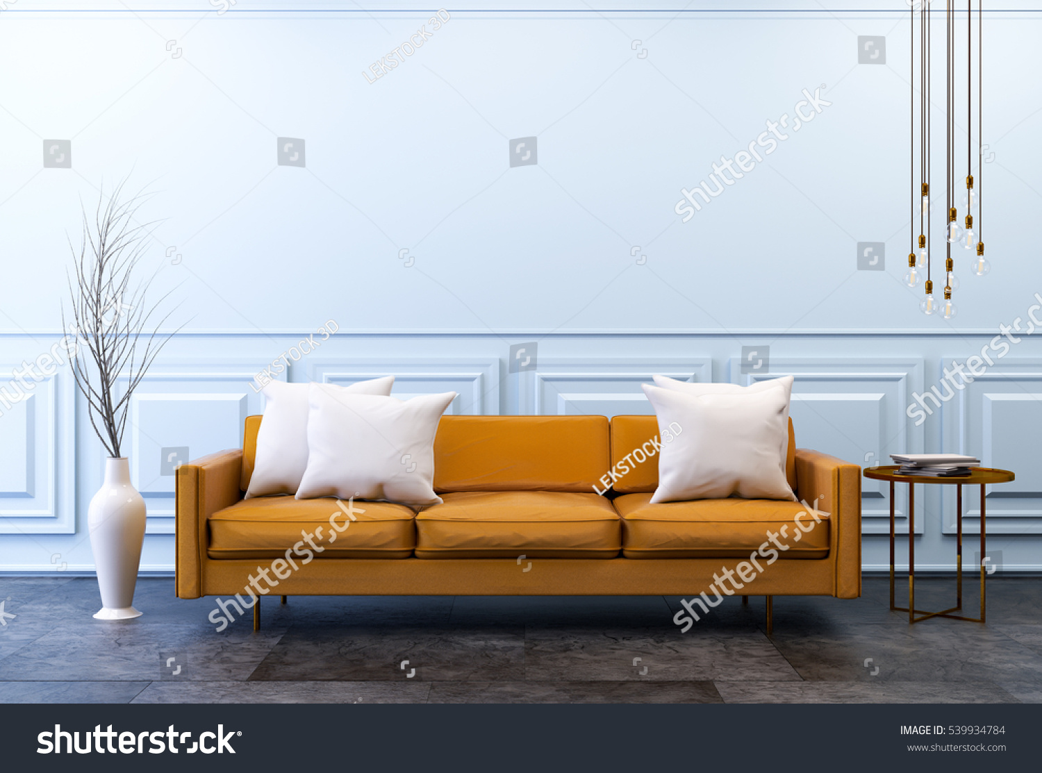 Modern Vintage Interior Living Room Brown Leather Sofa On Dark Concrete Flooring And Classic