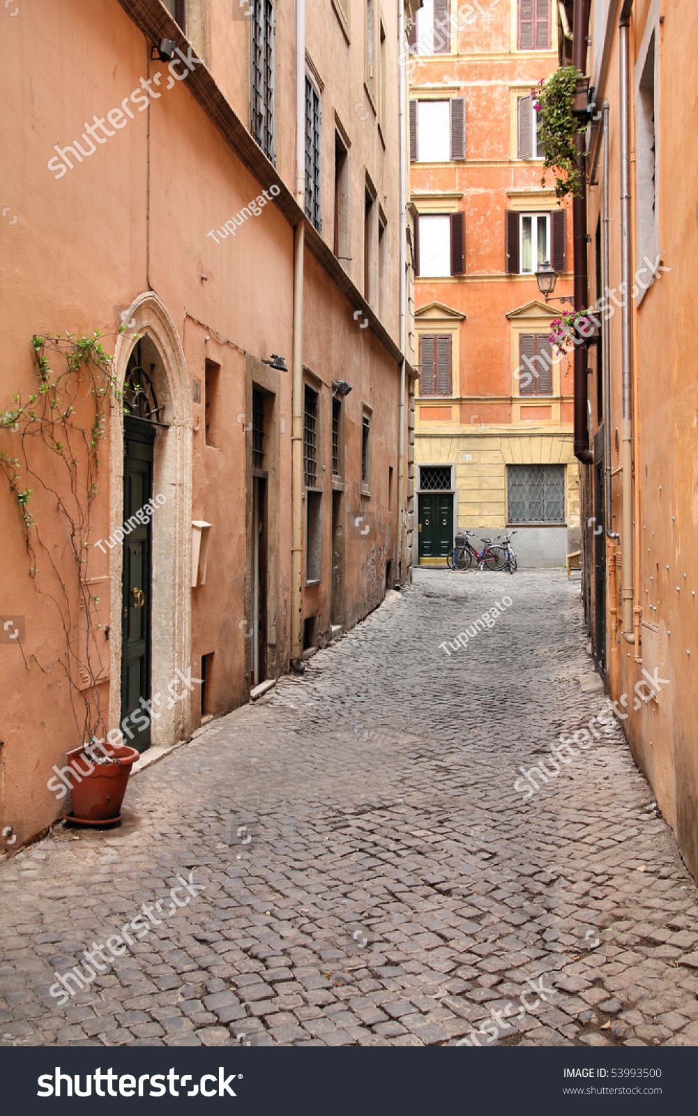 A cobblestone street in old Rome Stock Photo &- Stock Images | Bigstock
