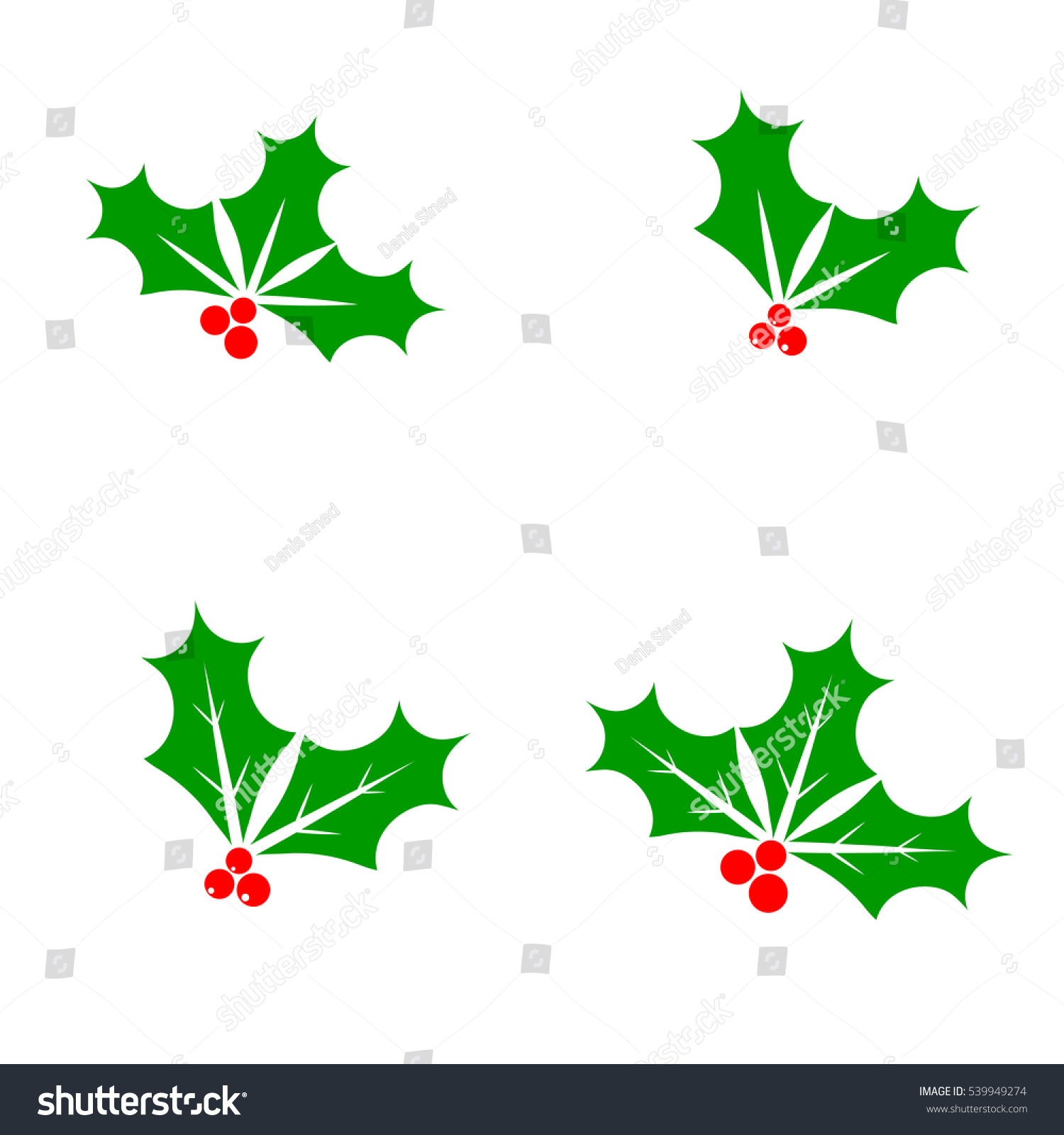 set holly berry icon christmas mistletoe stock vector royalty free