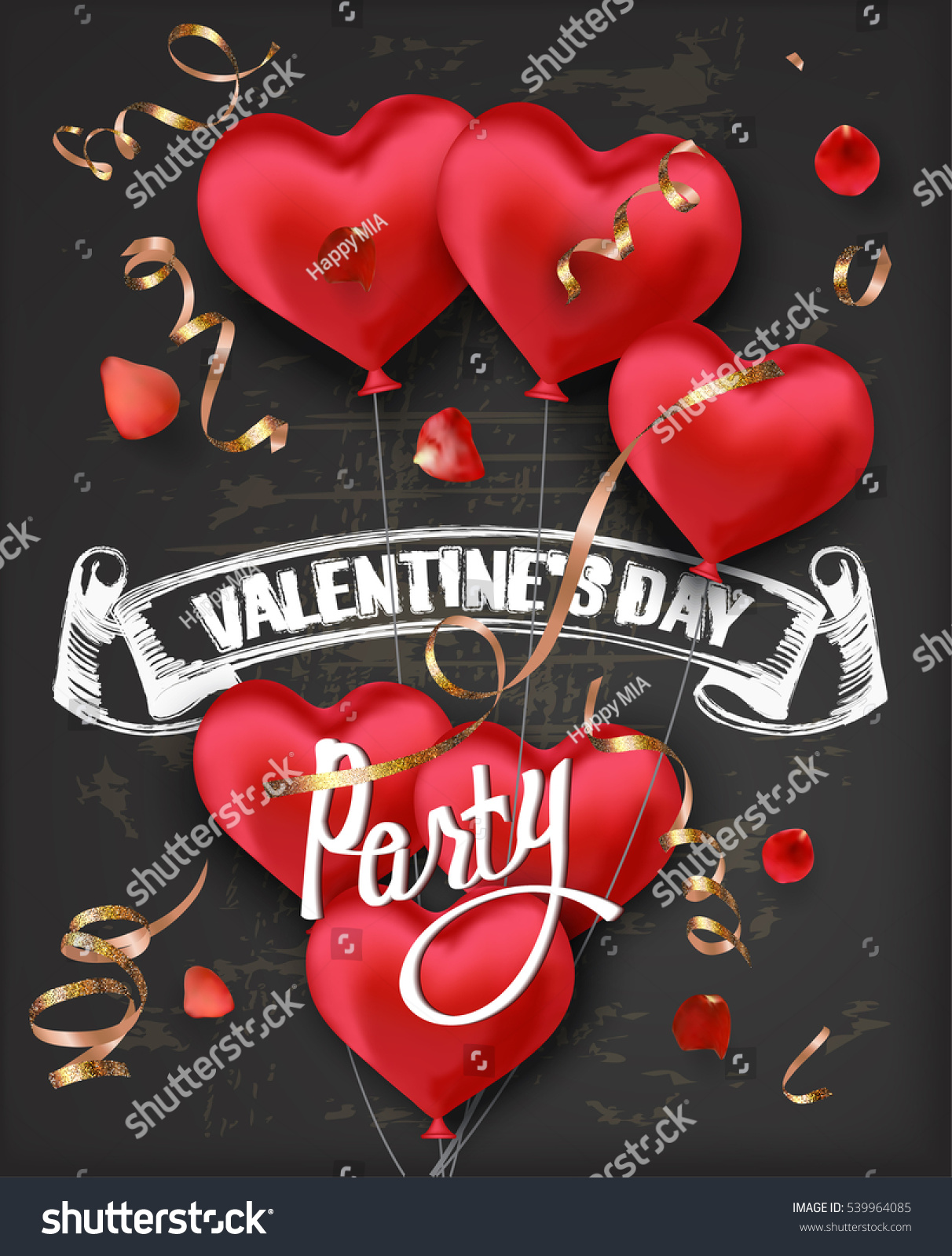 Valentines Day Party Invitation Card Red Stock Vector 539964085 ...
