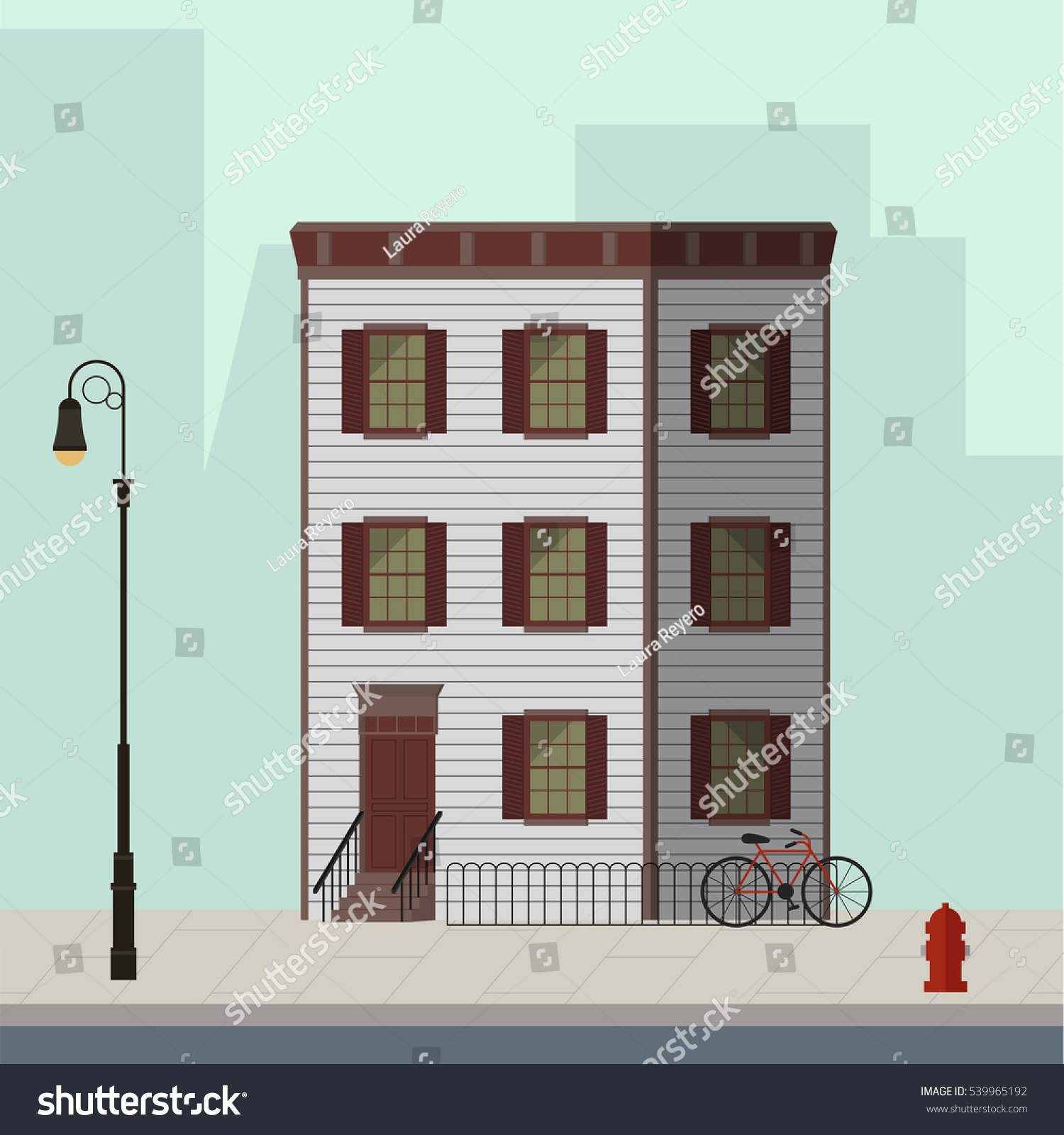 Apartment Building Illustration small apartment building stairs main door stock vector 539965192
