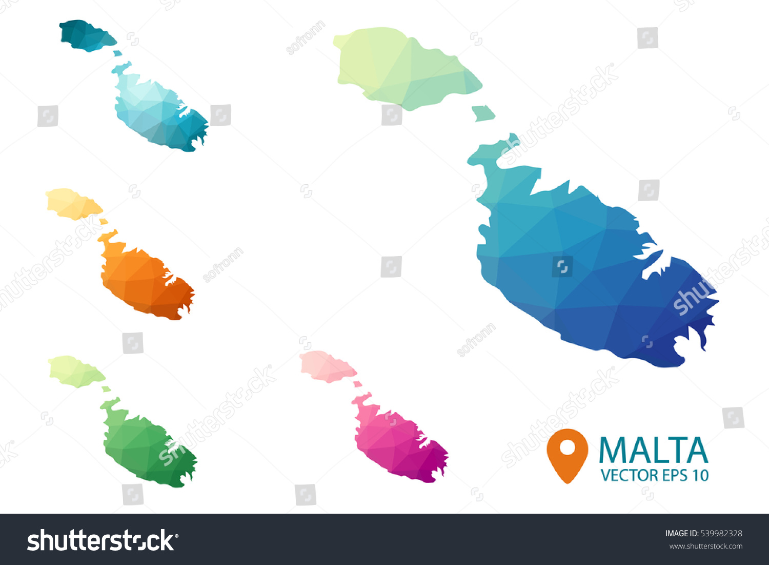 Set vector malta maps bright gradient stock vector 2018 539982328 set of vector malta maps bright gradient map of country in low poly style gumiabroncs Images