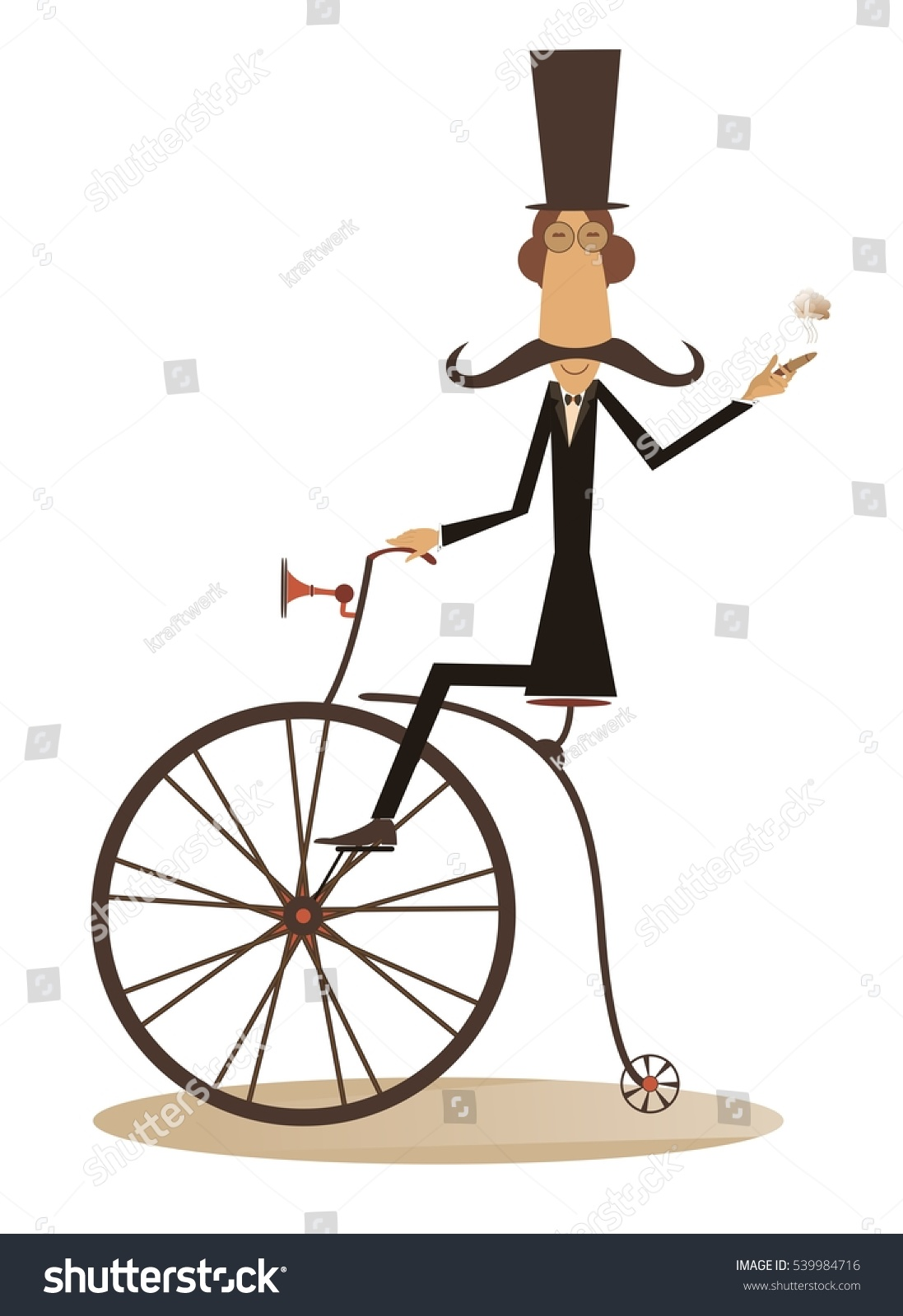 Cartoon Man Rides Bike Gentleman Mustache Stock Vector 539984716