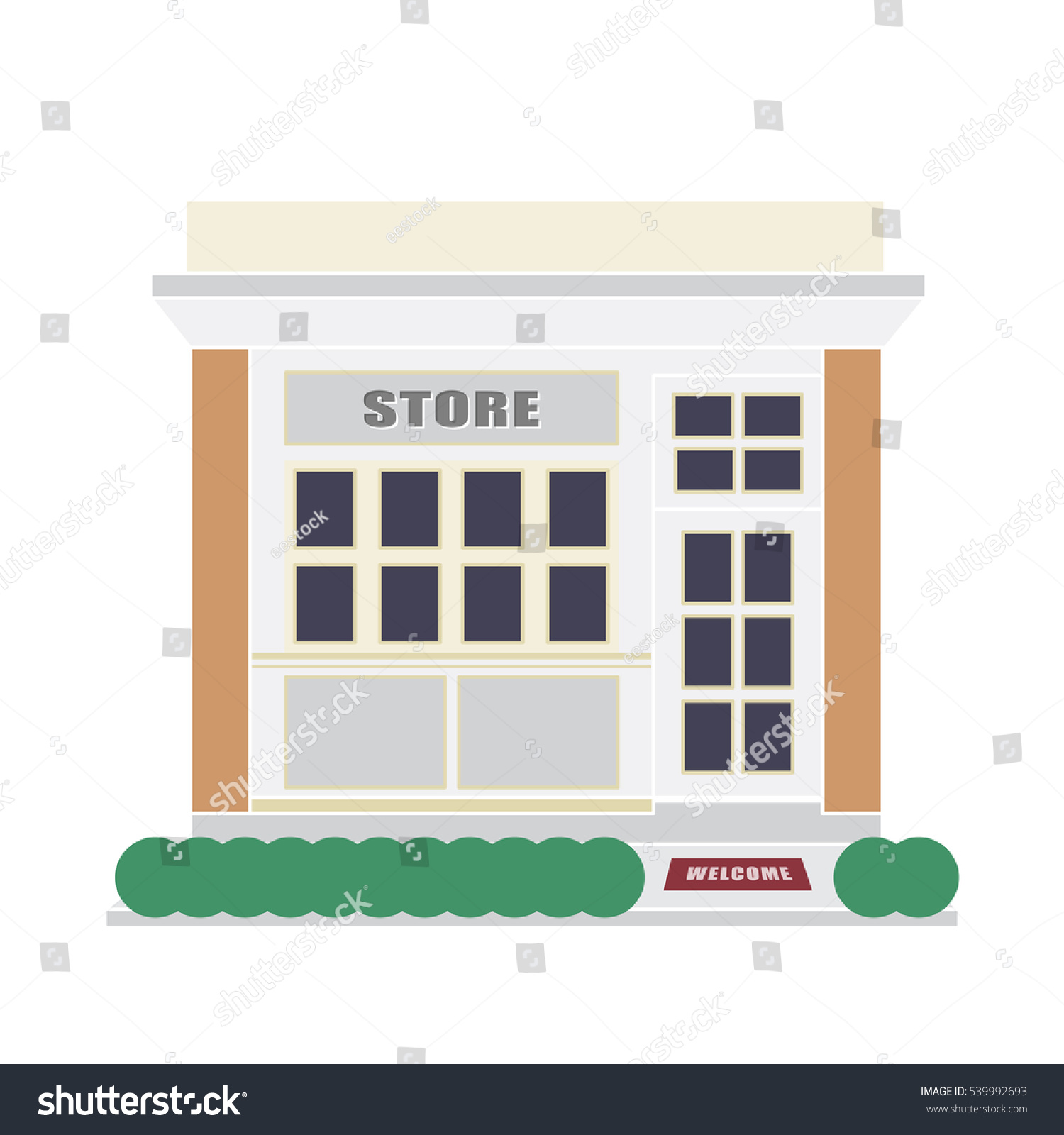 Front building store vector flat design stock vector for Store building design