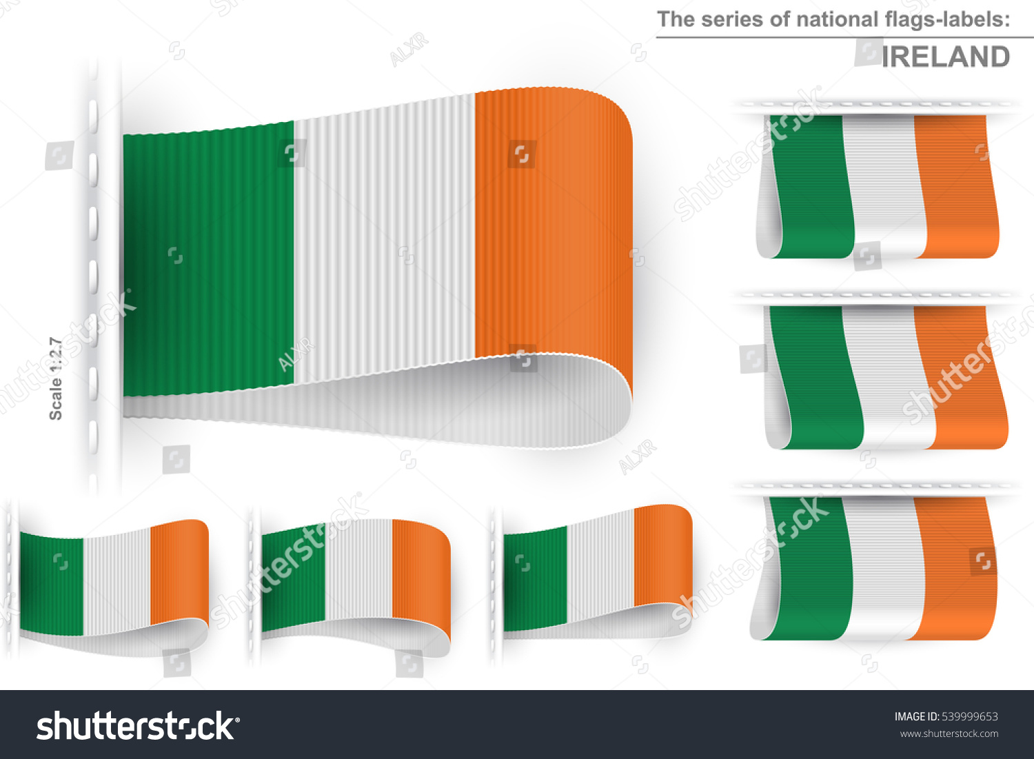 flag ireland embroidered on textile tag stock vector 539999653