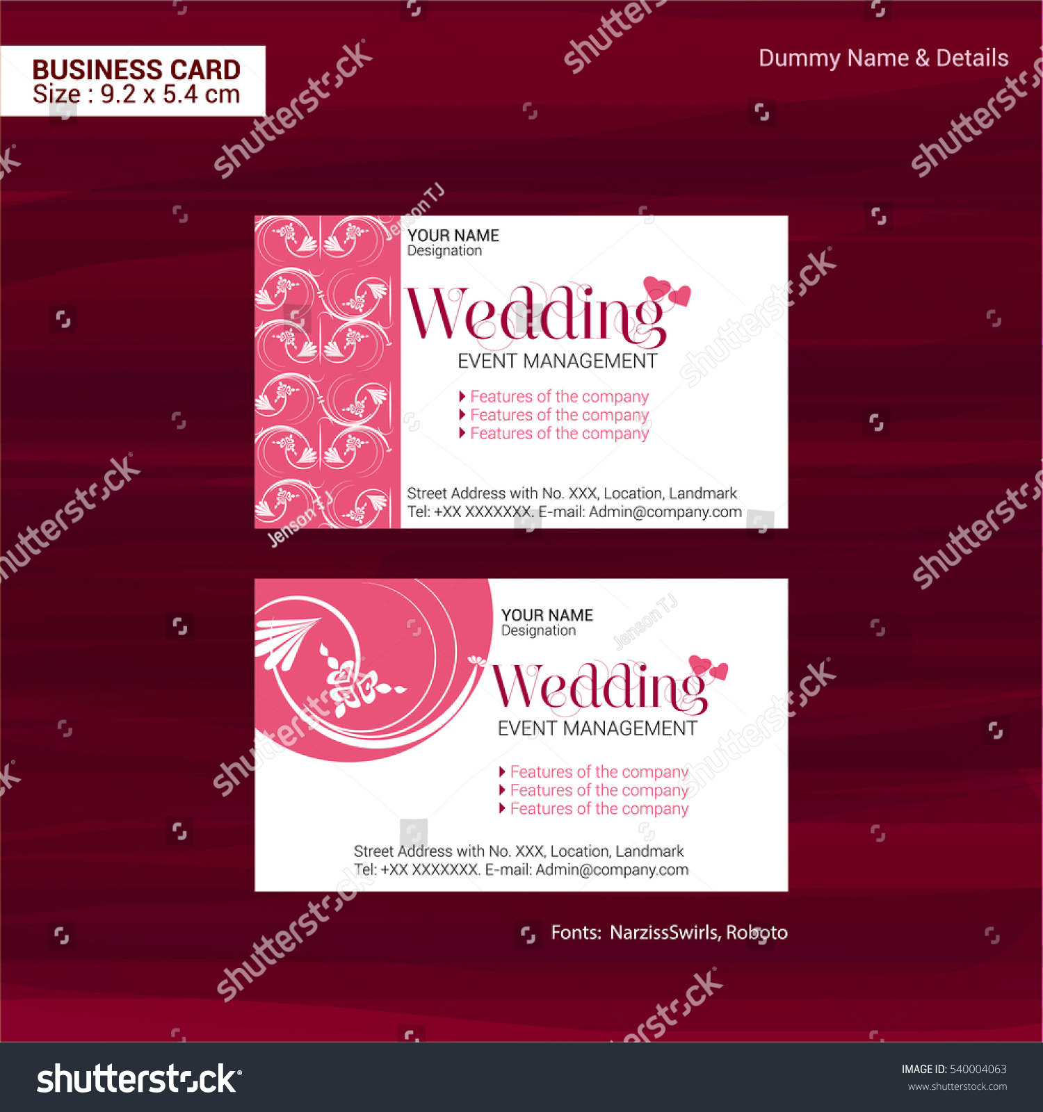 Business Cards Event Management Company Vector Stock Vector ...