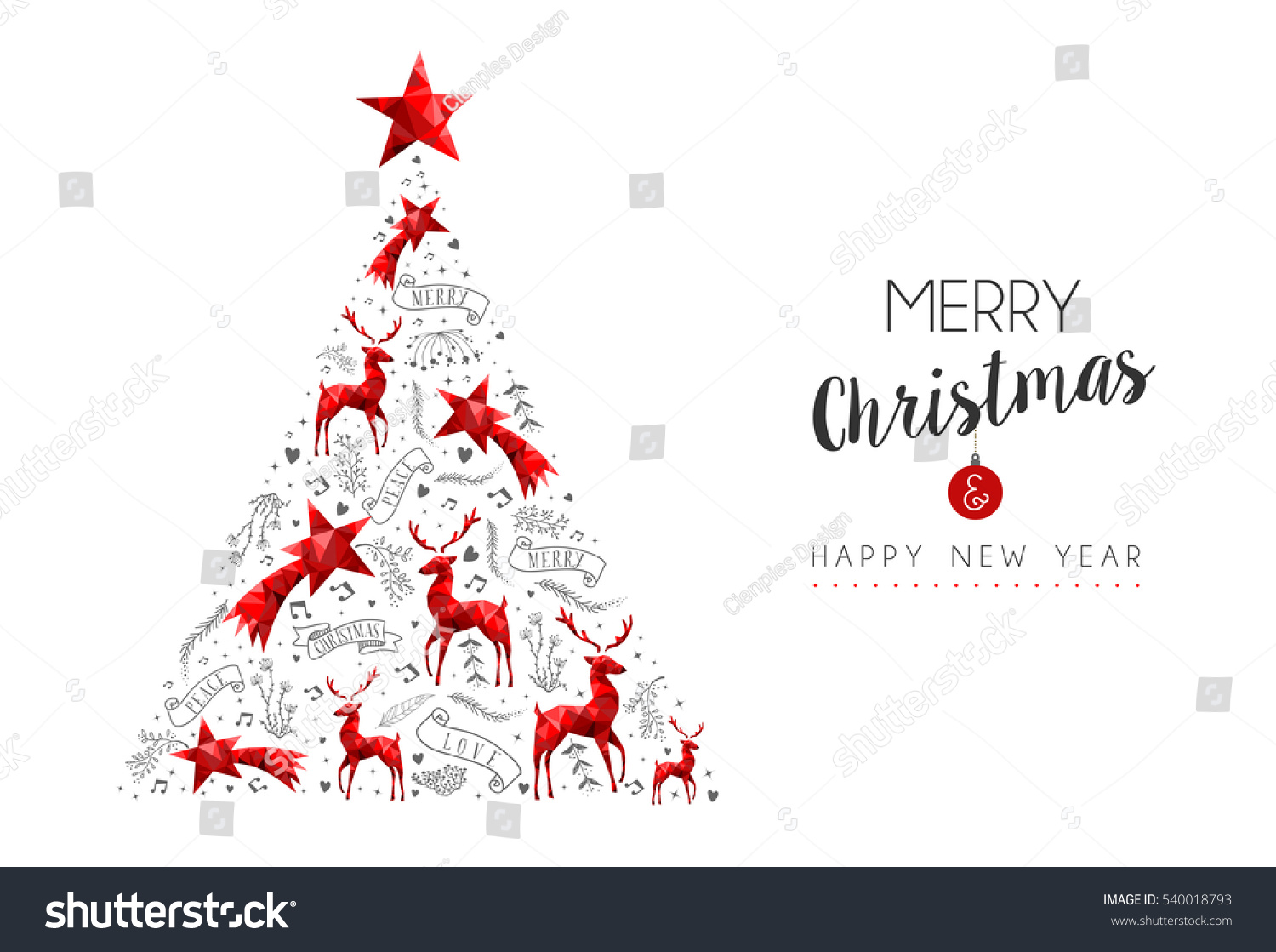Merry Christmas Happy New Year Red Stock Vector (Royalty Free ...