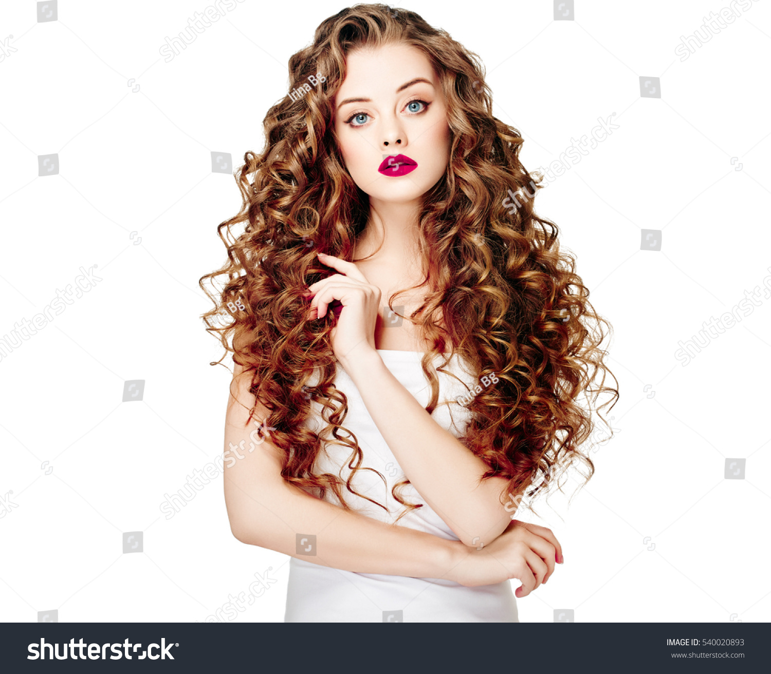Beautiful People Curly Hair Fashion Girl Stock Photo 540020893 Shutterstock