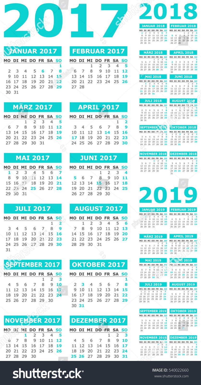 calendar set 2017 2018 2019 stock vector 540022660 shutterstock