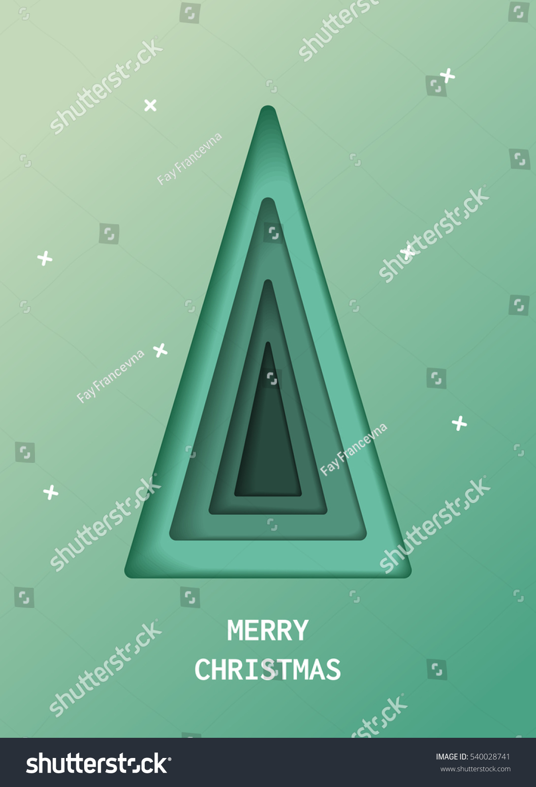 Green Christmas Tree Made Of Paper Original. Elements Of Design Material  For Holiday Cards.