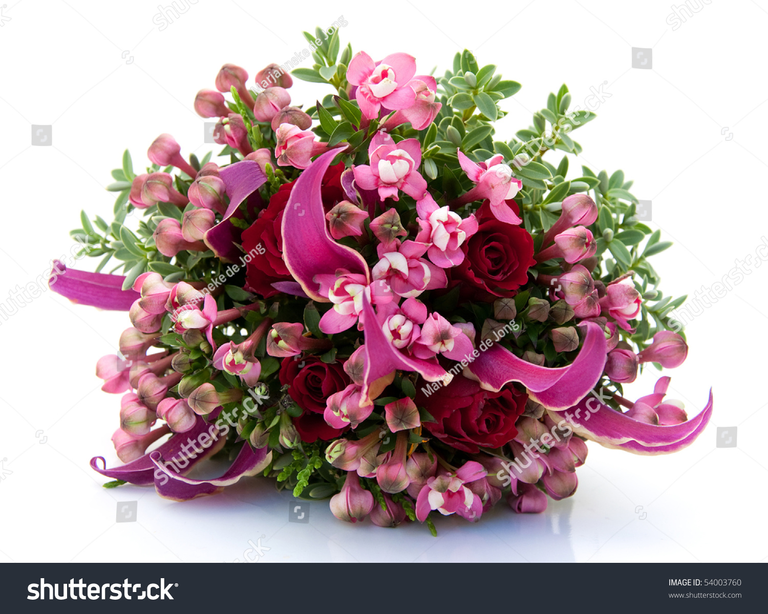 Beautiful Bouquet Pink Flowers On White Stock Photo Edit Now