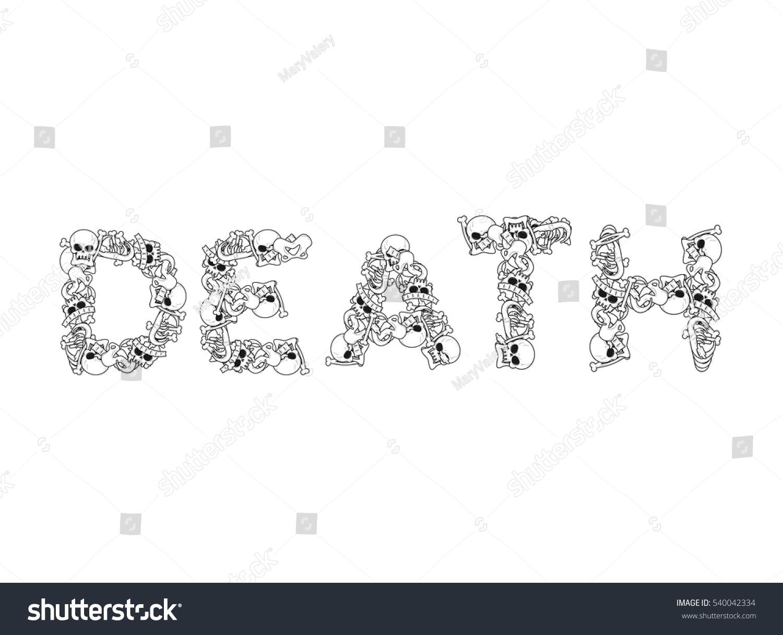 Death Typography Letters Bones Anatomy Lettering Stock Vector ...