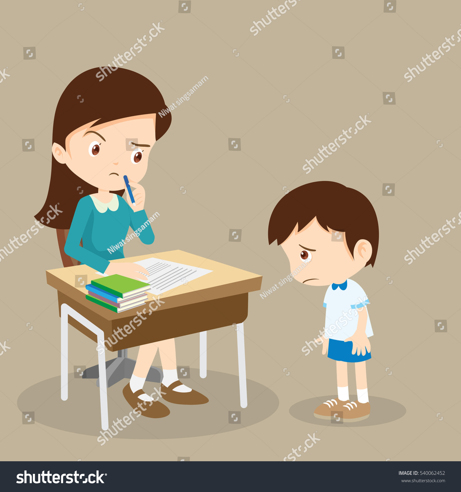 teacher reprimands guilty sad bad pupil stock vector (royalty free
