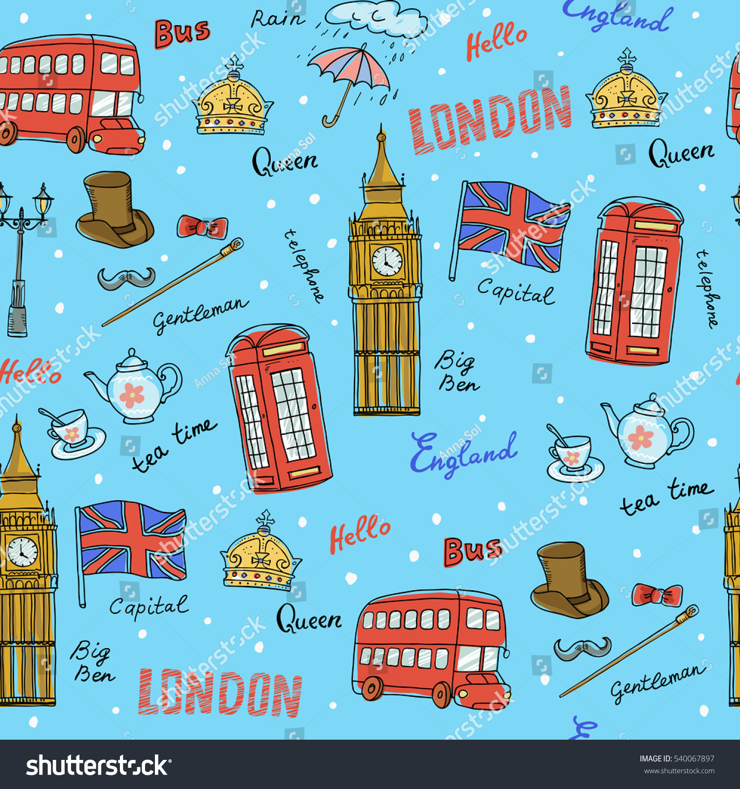 Vector seamless pattern england symbolslandmarkstravel vector seamless pattern of england symbolslandmarksavel iconsckground for use in biocorpaavc