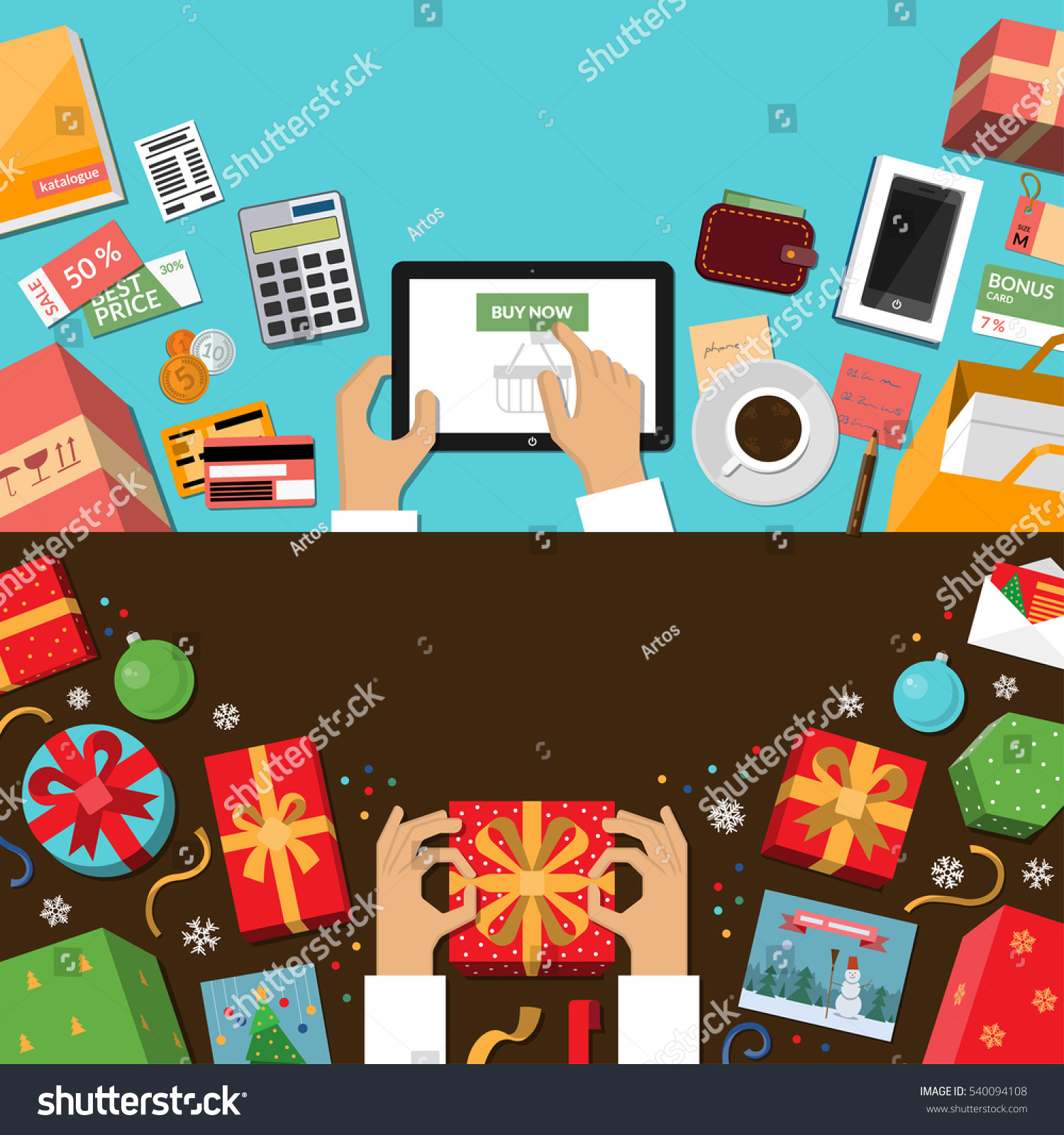 Online Shopping Preparing Holidays Wrapping Christmas Stock