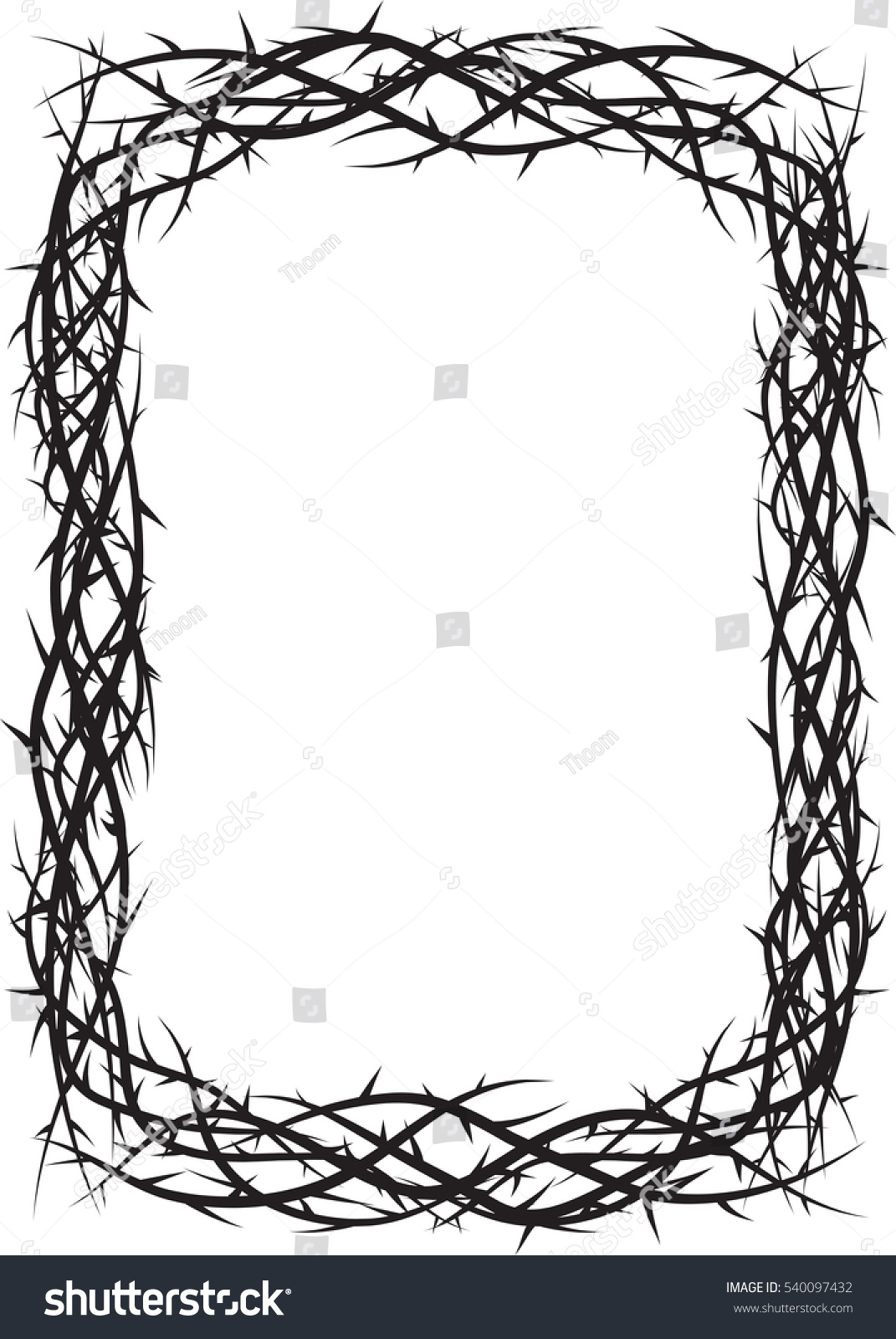 Frame Thorns Crown Thorns Background Border Stock Vector