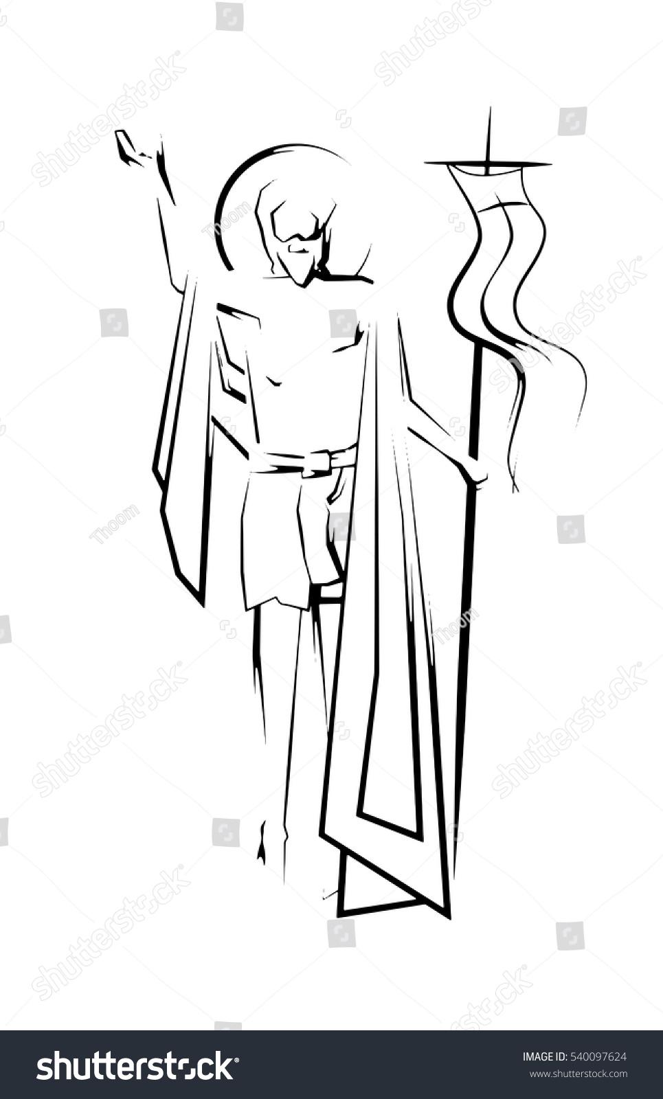 easter resurrection jesus christ risen lord stock vector 540097624