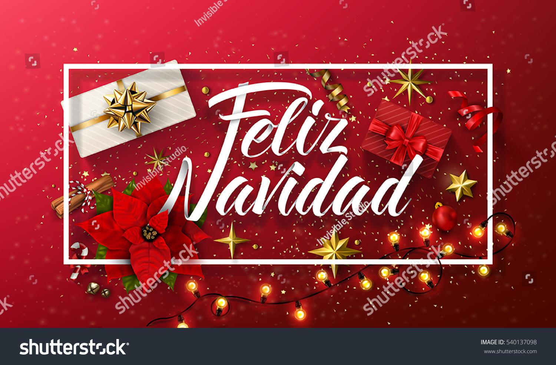 Vector merry christmas card template greetings stock photo photo vector merry christmas card template with greetings in spanish language feliz navidad m4hsunfo Gallery