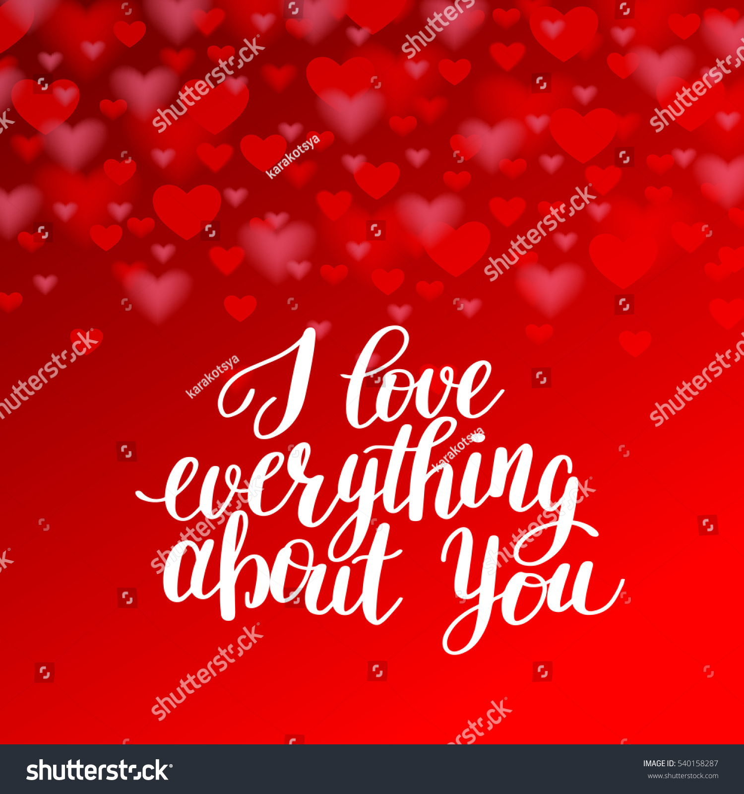 Love Everything About You Handwritten Inscription Stock Vector ...