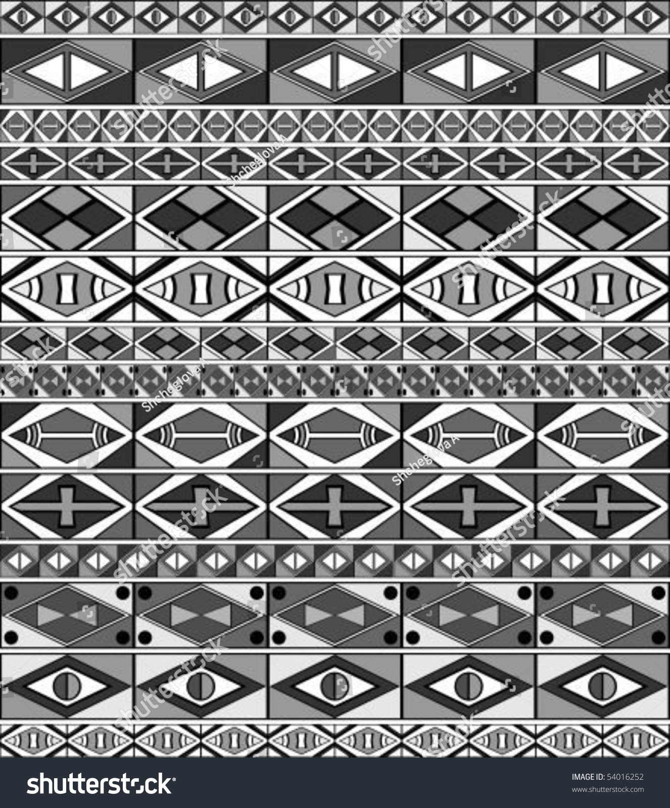 African-Tribal-Art Seamless Pattern Black And White Stock Vector ...