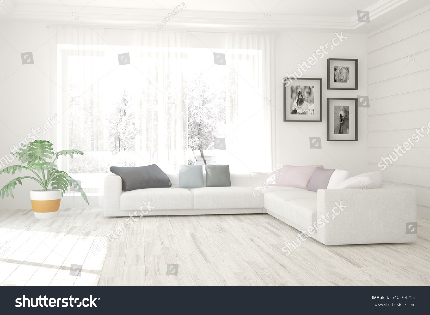 White Living Room Interior Sofa Winter Stock Illustration