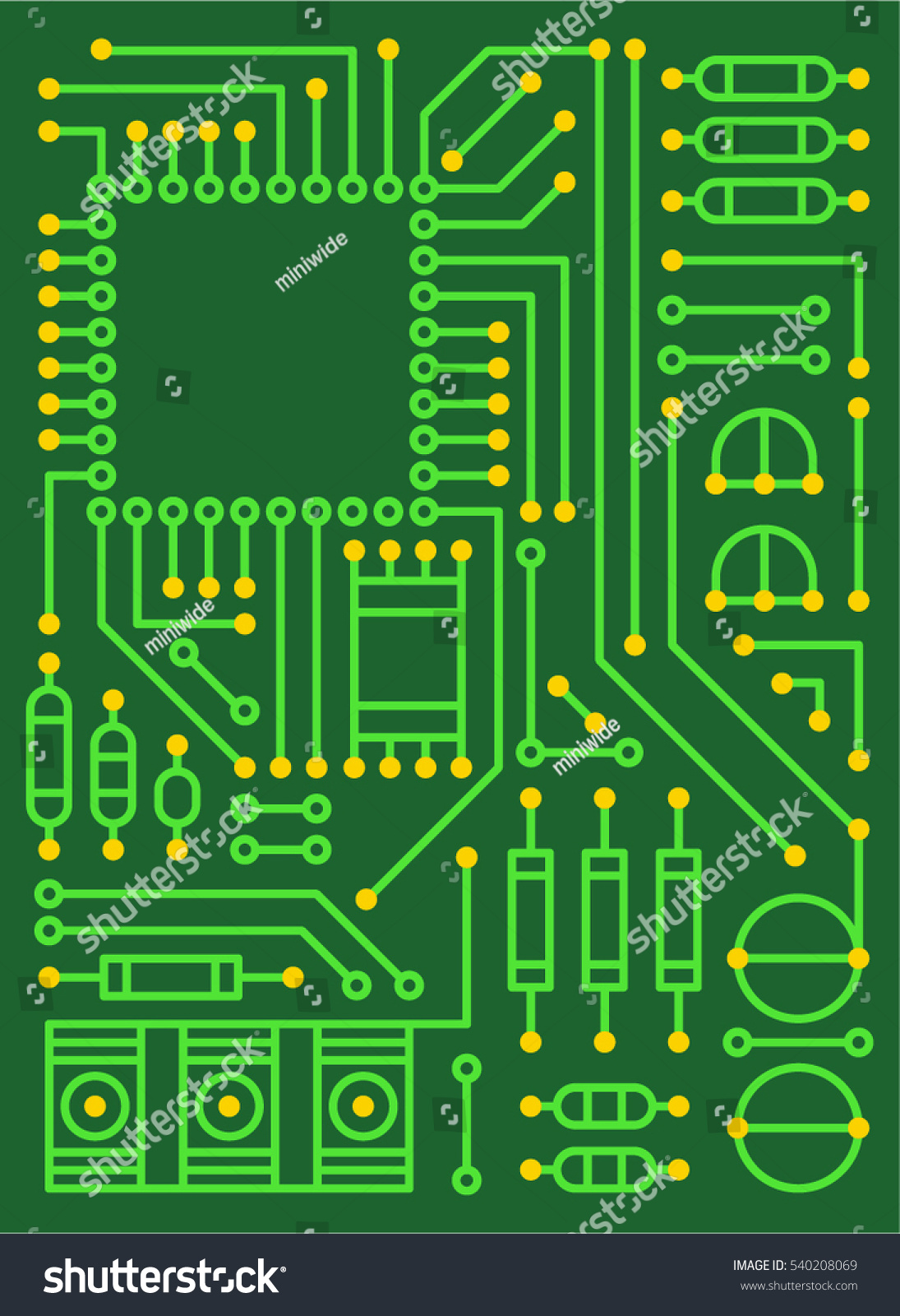 Computer Electronic Circuit Board Vector Illustration Stock Design Flat