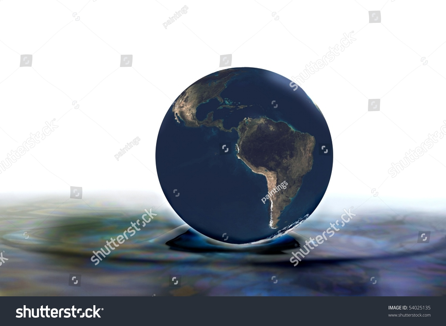 Polluted Oil Spill Planet Earth Splash Globe Illustration ...