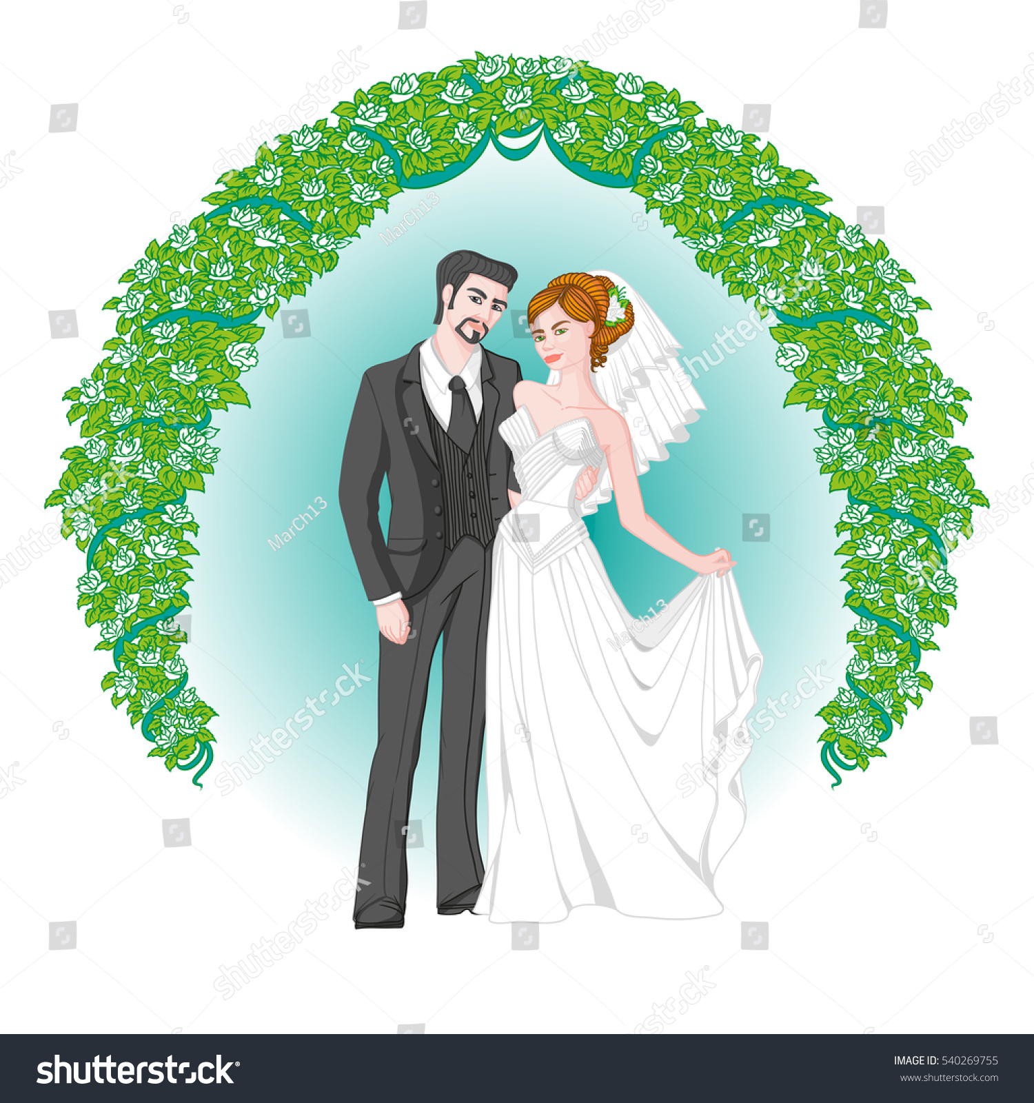 Beautiful Elegant Groom Suit Bride Wedding Stock Illustration ...