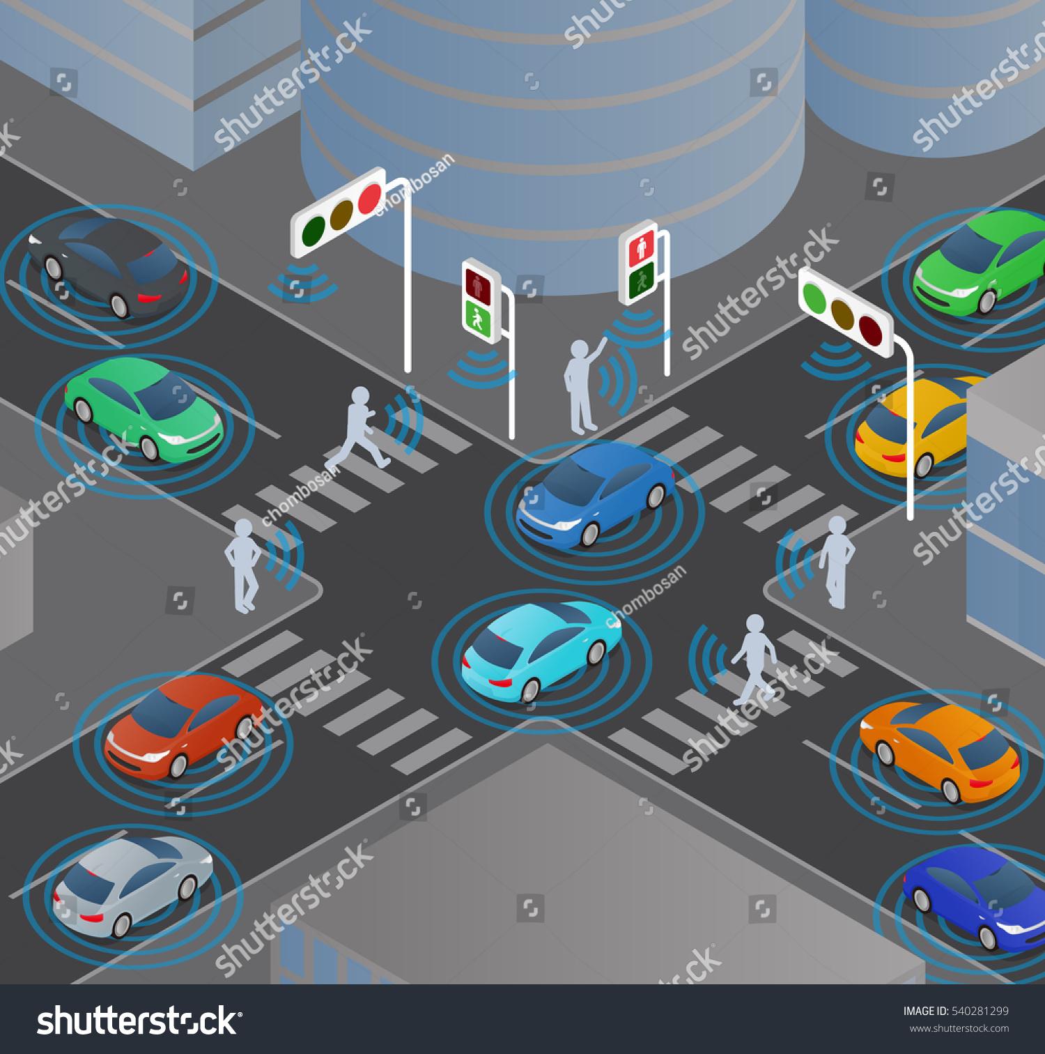 Wireless Communication Vehicles Signals Pedestrians Traffic Stock ...