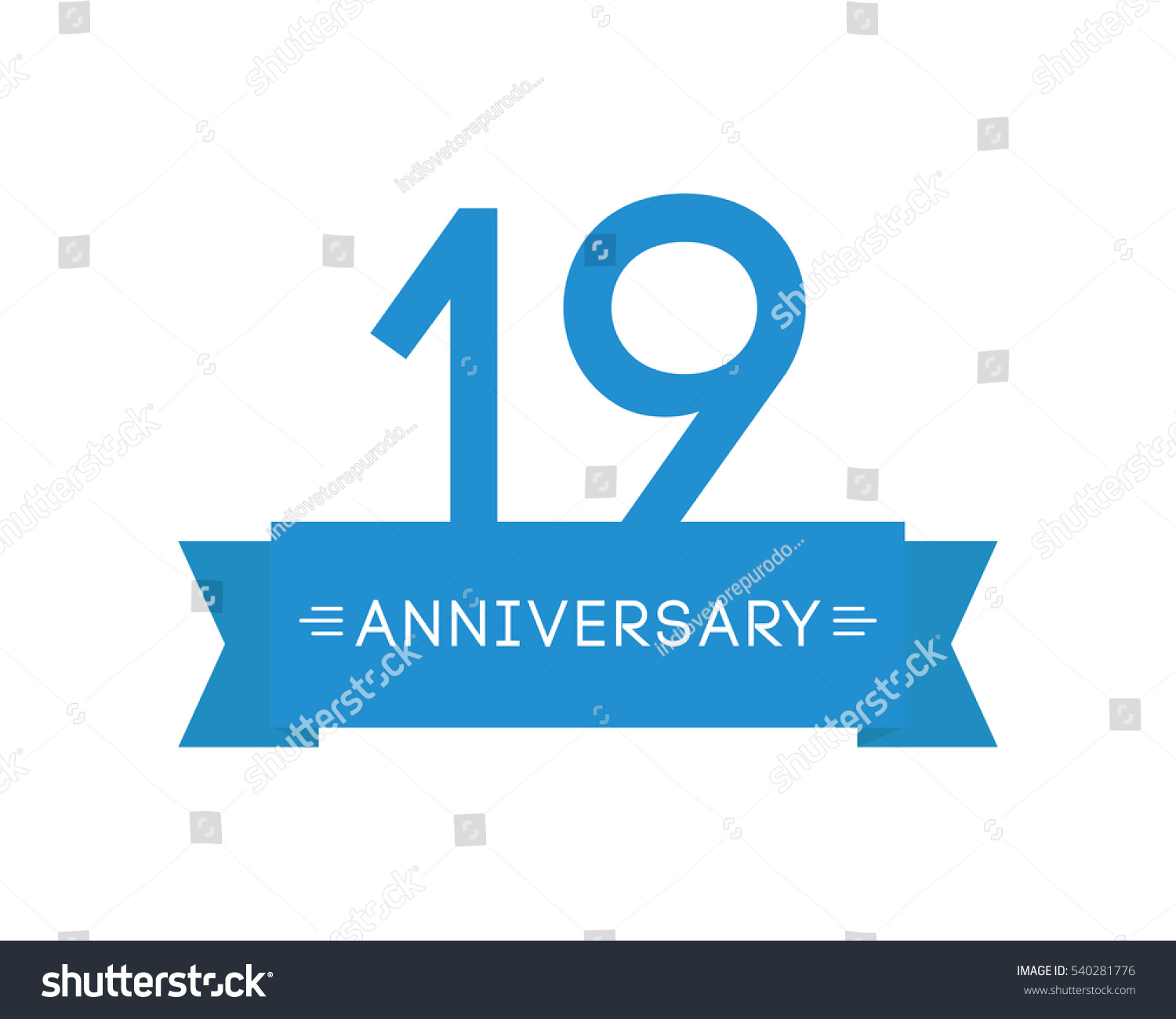 Anniversary nineteen label mark icon element stock vector 540281776 anniversary to nineteen label mark icon element ribbon greeting cards banners and m4hsunfo