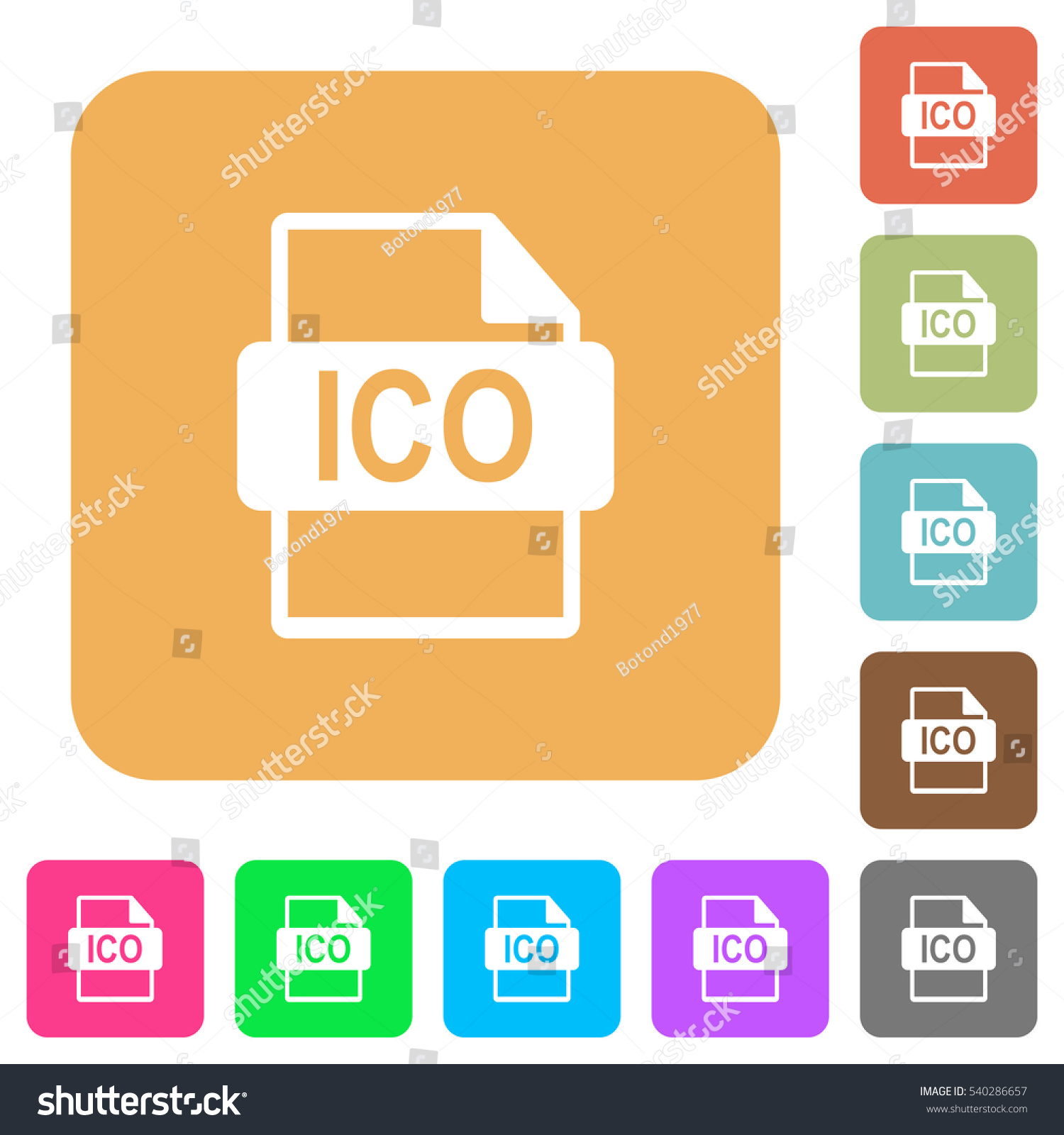 ico file format icons on rounded stock vector 540286657 shutterstock. Black Bedroom Furniture Sets. Home Design Ideas
