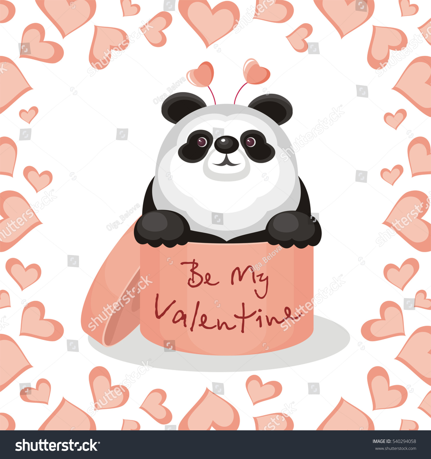 Valentines Day Greeting Card. Funny Panda Sitting In A Gift Box With The  Inscription