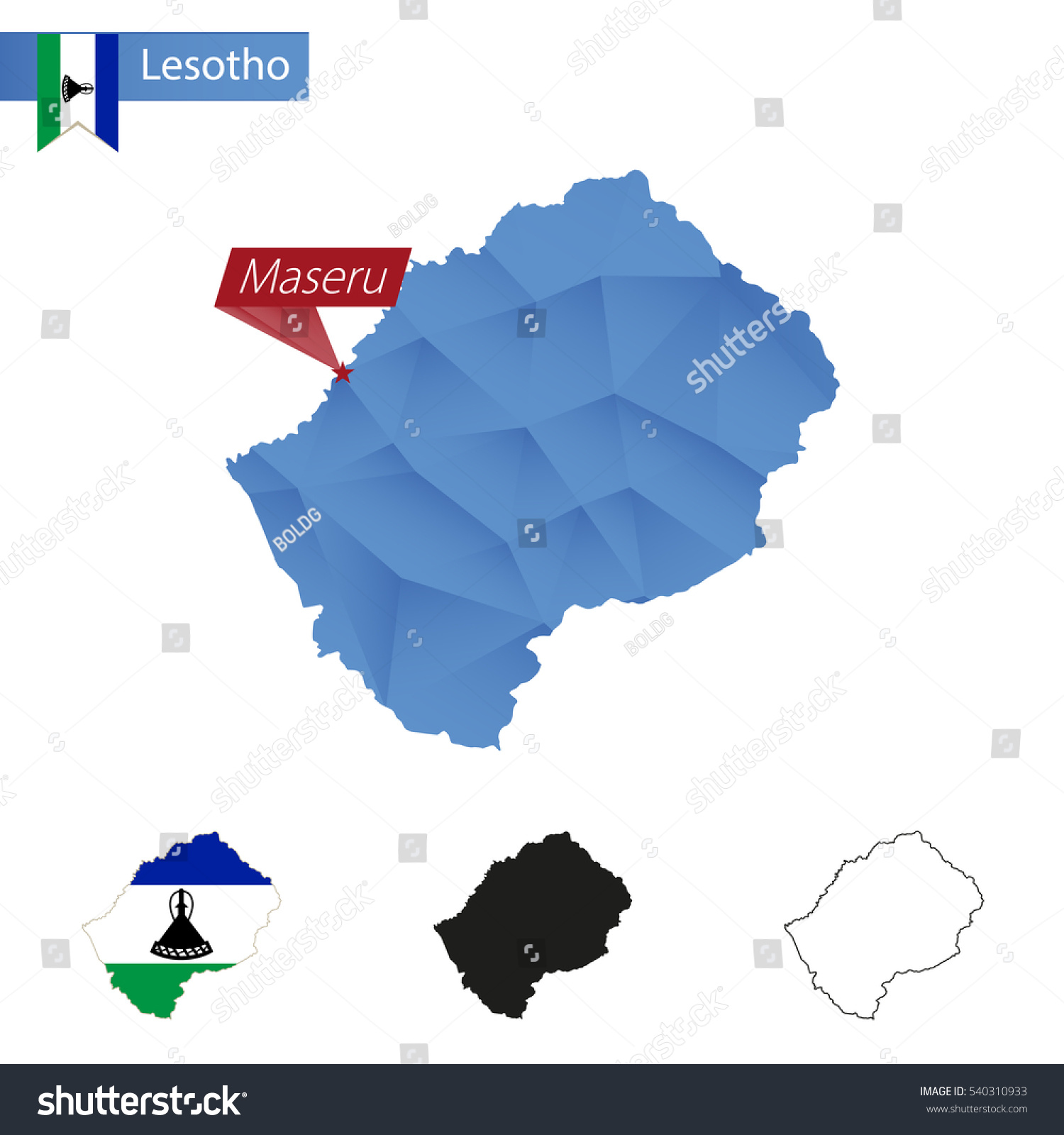 Lesotho Blue Low Poly Map Capital Stock Illustration - Maseru map