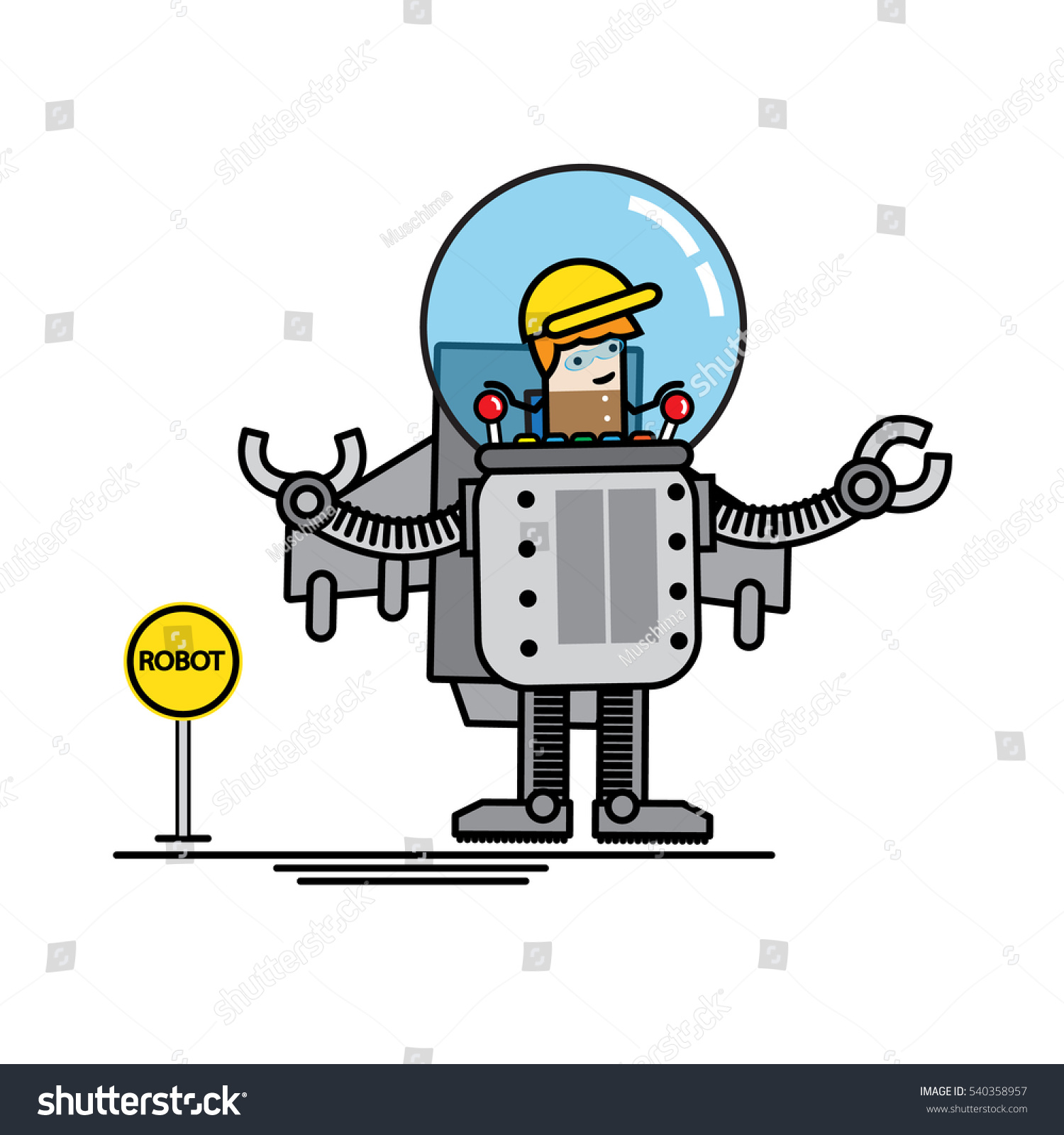 Engineer Kid Control His Own Robot Stock Vector Royalty Free 540358957