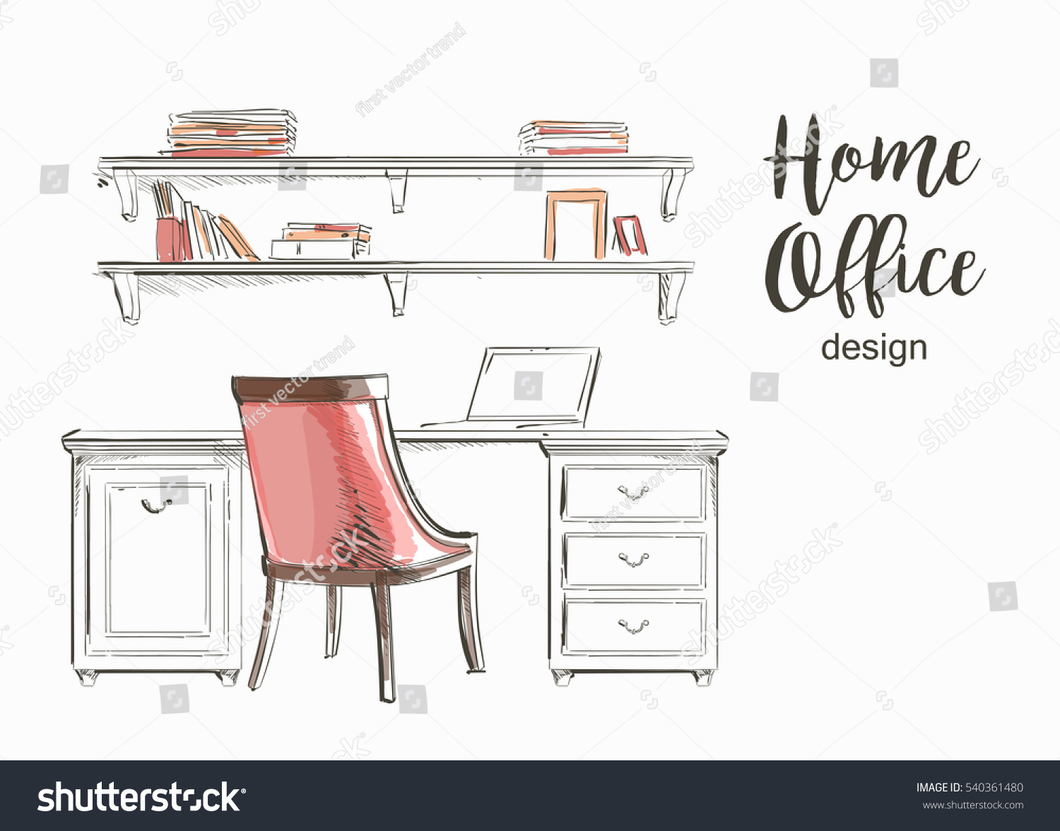 Interior wooden shelves free vector - Set Of Hand Drawn Classic Home Office Interior Work Table Wooden Shelf Chair Vector Sketch Store