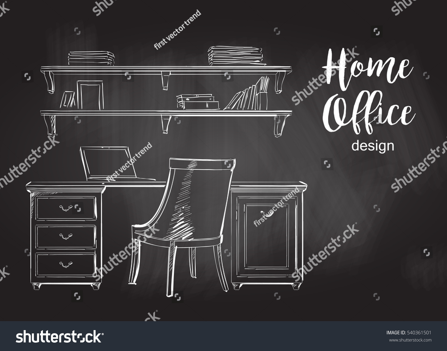 Interior wooden shelves free vector - Set Of Hand Drawn Classic Home Office Interior Work Table Wooden Shelf Chair Vector Sketch Chalkboard