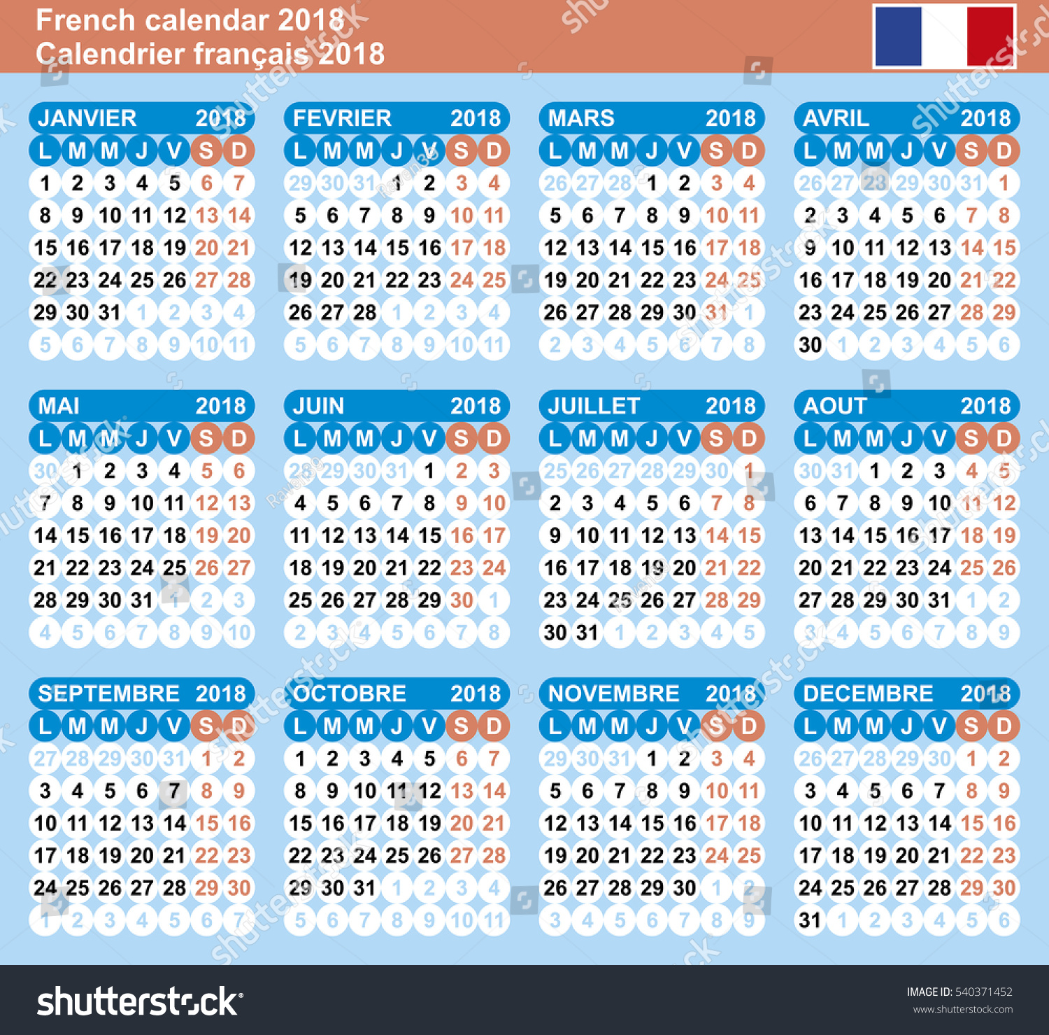 French Calendar 2018 Vector Template Numbers Stock Vector (Royalty ...