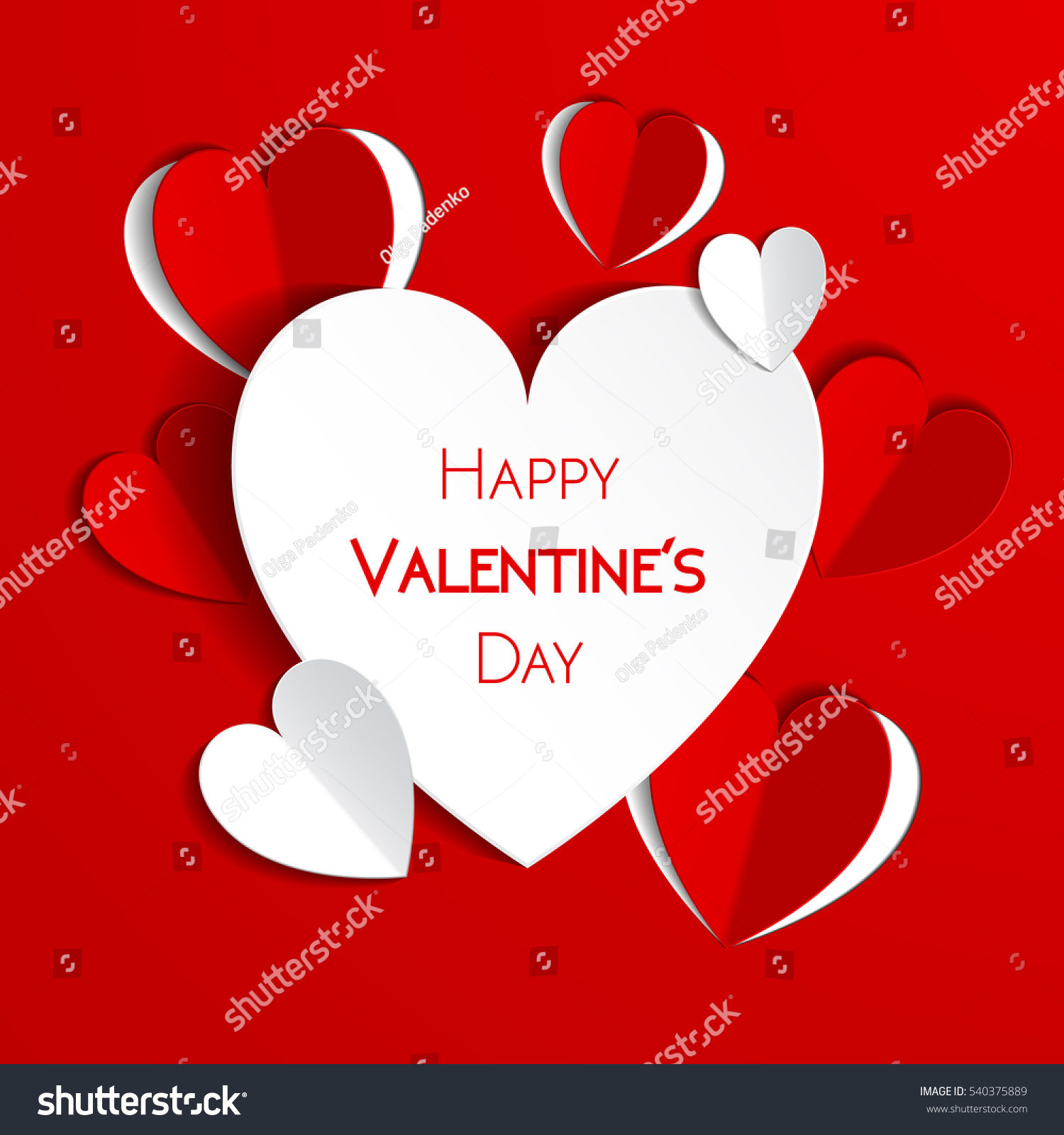 Happy Valentine Day Greeting Card Hearts Stock Vector Royalty Free