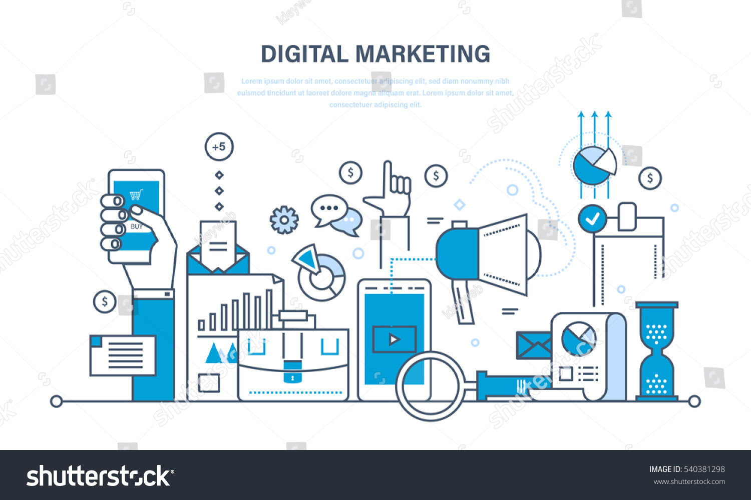 Concept illustration digital marketing media planning for Planning on line