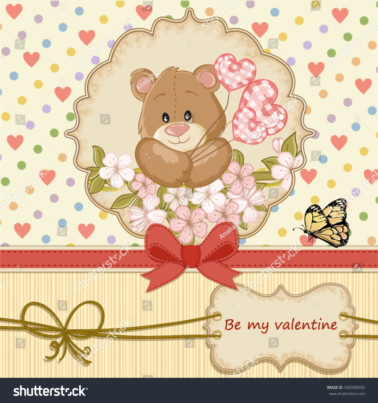 vintage valentines day card with teddy bear in love and hearts background - Vintage Valentines Day