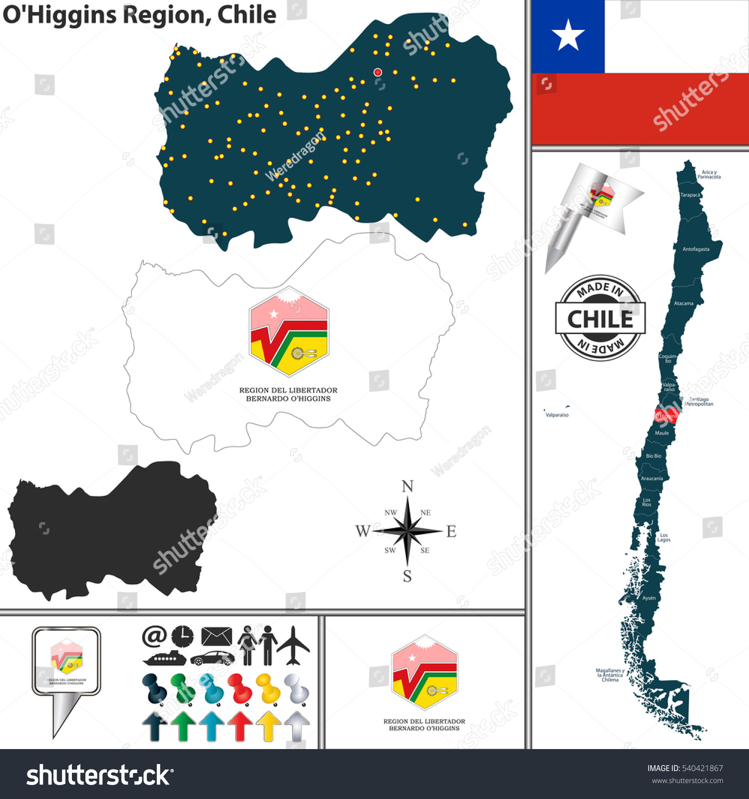 Vector Map Ohiggins Region Location On Stock Vector - Chile location