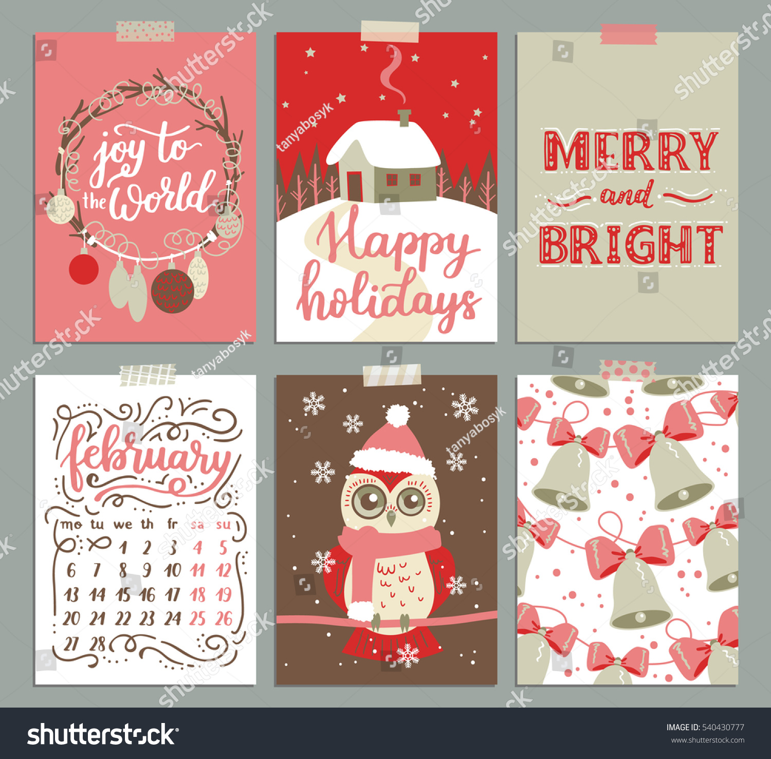 Collection Christmas Poster Templates Christmas Set Stock ...