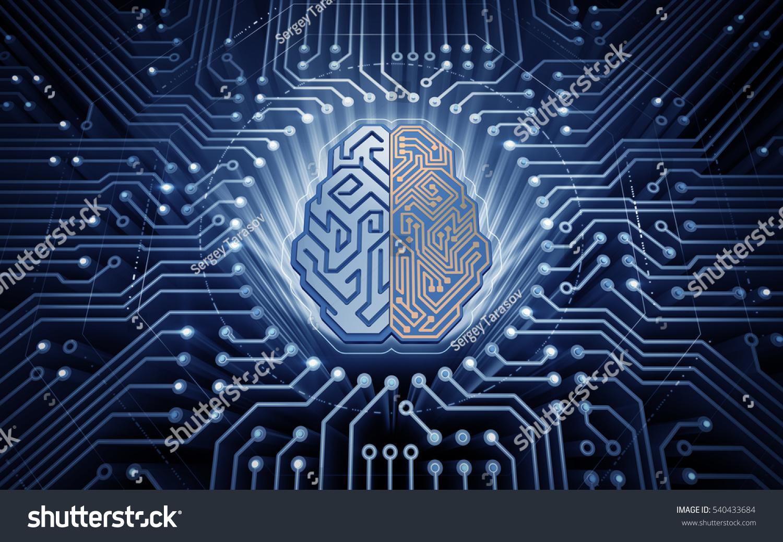 Cybernetic Brain Electronic Chip Form Cybernetic Stockillustration ...