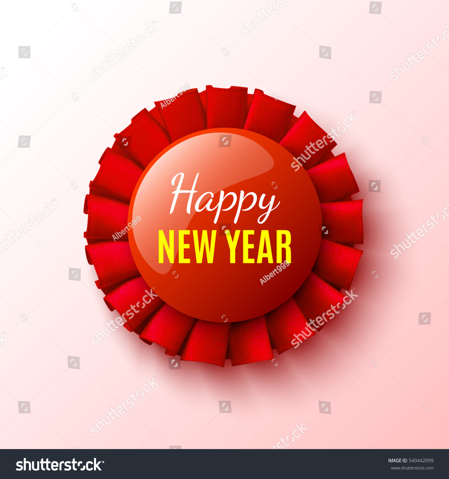 new year banner red ribbon round badge vector illustration