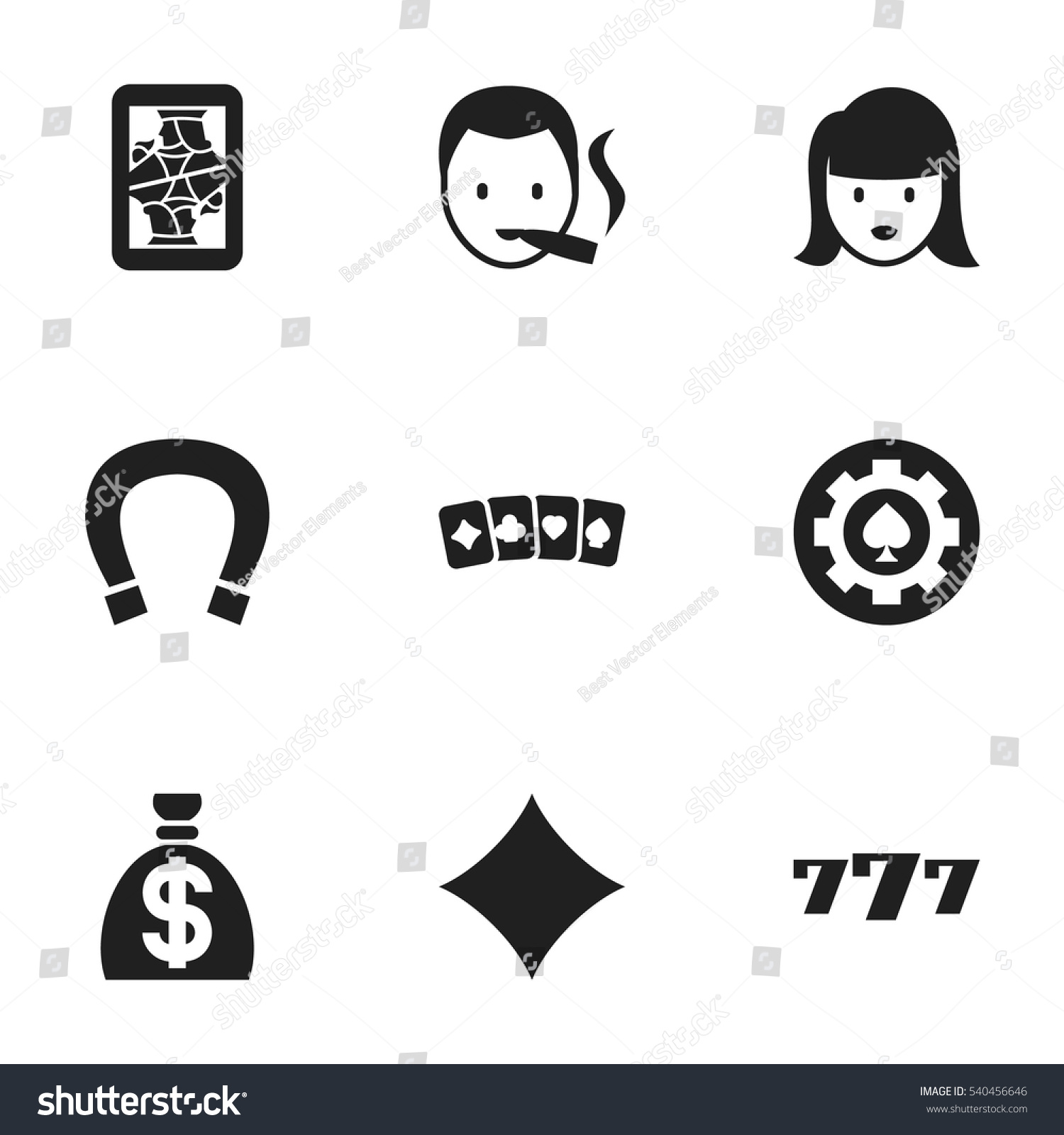 Set 9 editable gambling icons includes stock vector 540456646 includes symbols such as luck charm lucky seven biocorpaavc Image collections