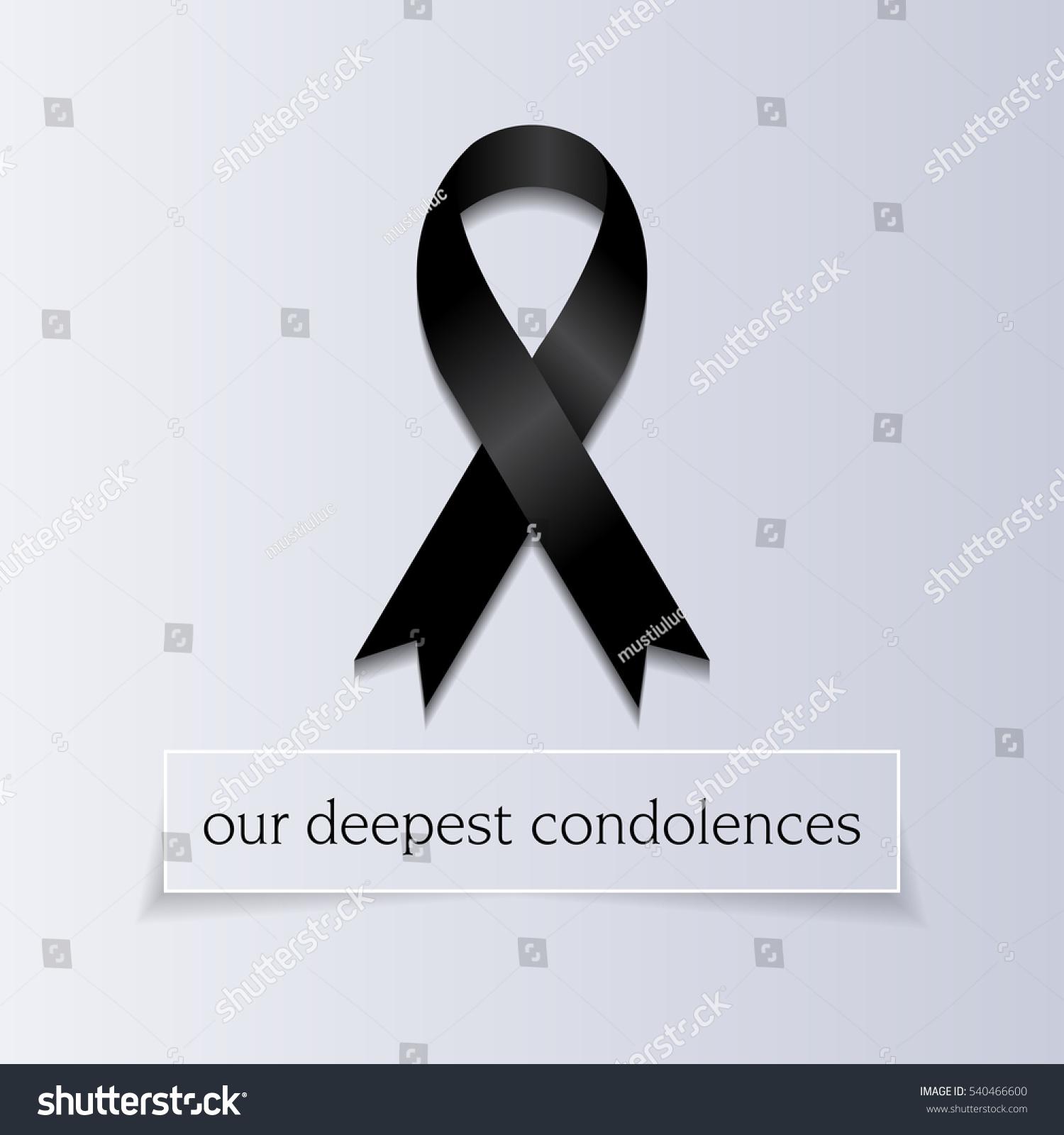 Our Deepest Condolences Sympathetic Condolence Card Stock Vector